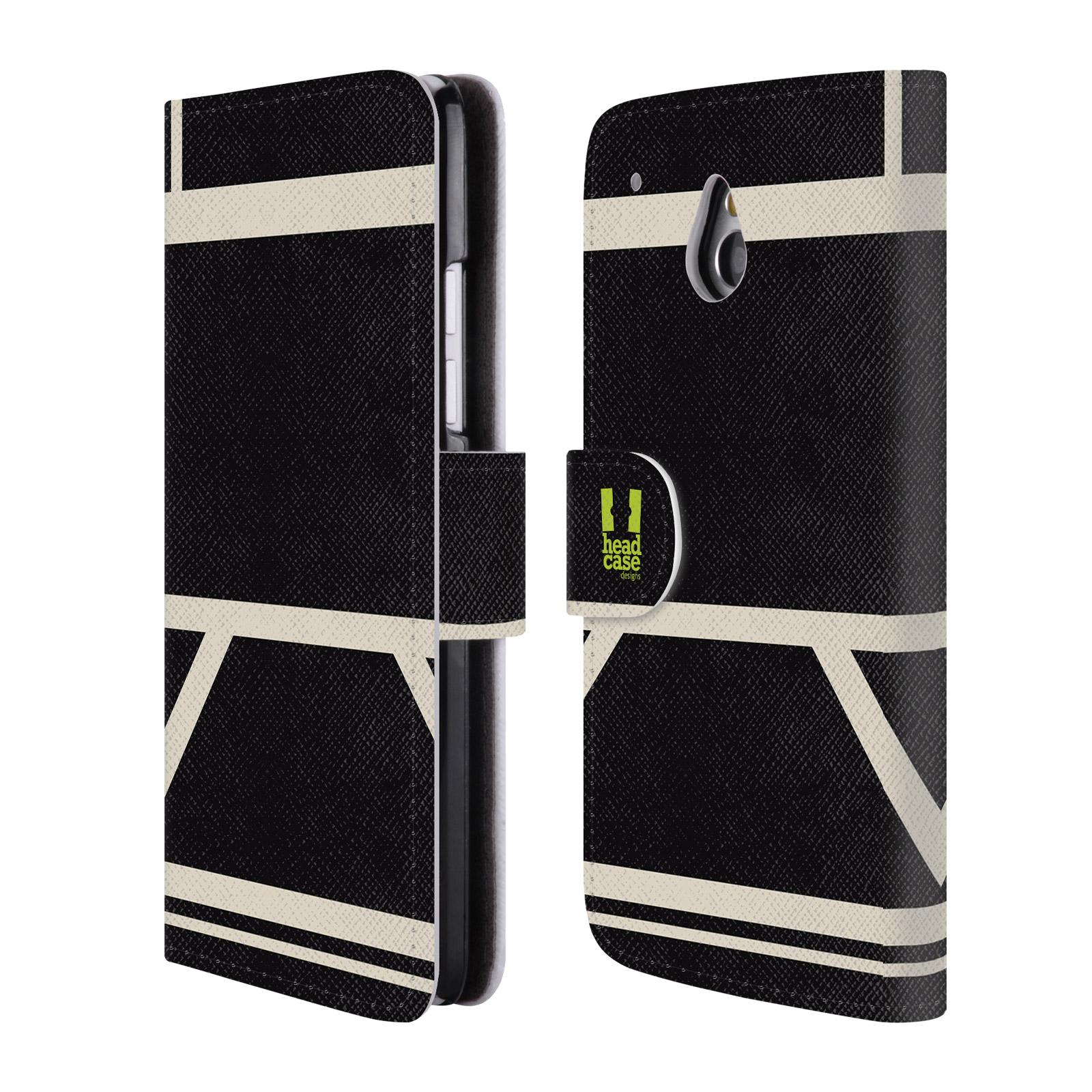 HEAD CASE Flipové pouzdro pro mobil HTC ONE MINI barevné tvary černá a bílá proužek