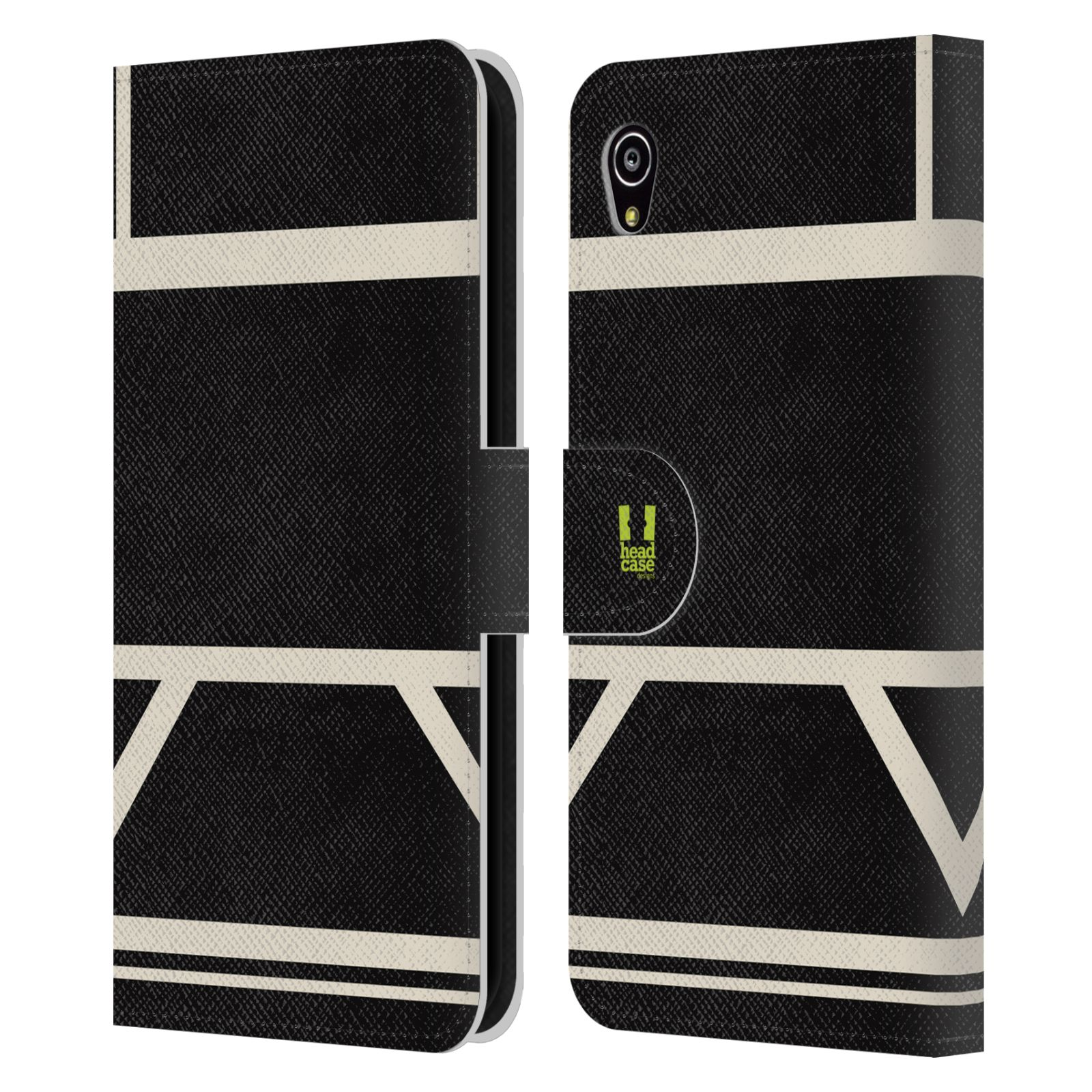 HEAD CASE Flipové pouzdro pro mobil SONY Xperia M4 Aqua barevné tvary černá a bílá proužek