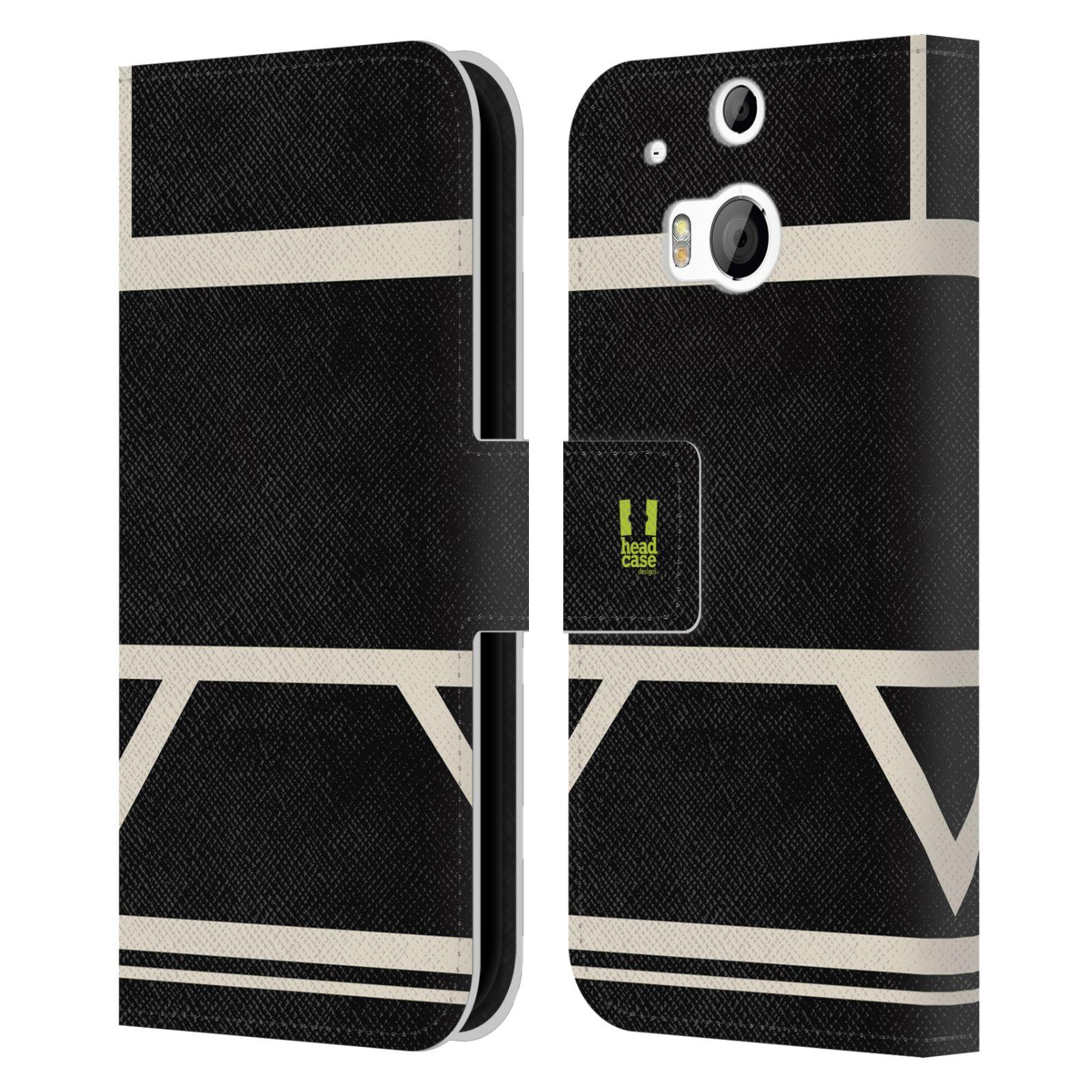 HEAD CASE Flipové pouzdro pro mobil HTC ONE M8/M8s barevné tvary černá a bílá proužek