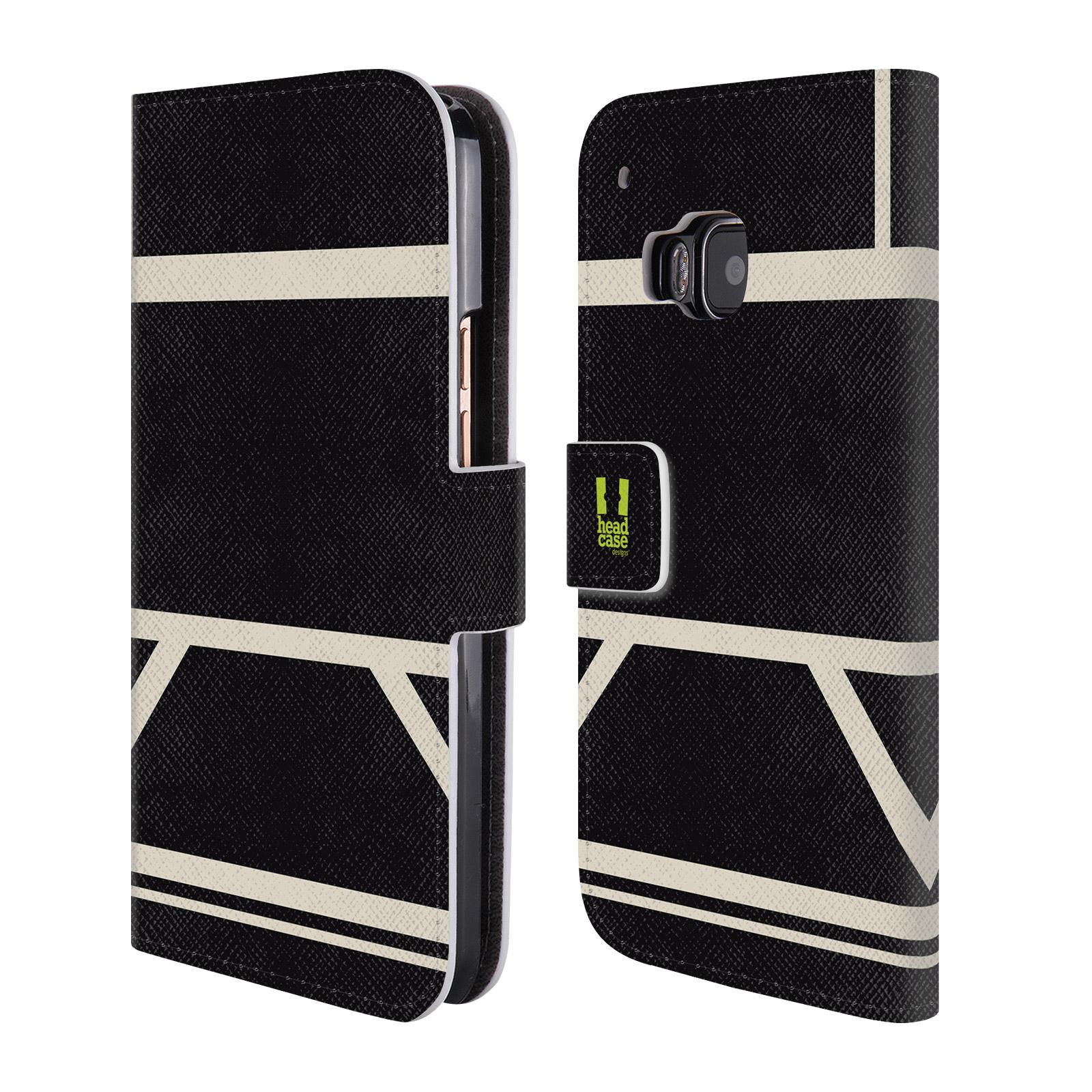 HEAD CASE Flipové pouzdro pro mobil HTC ONE M9 barevné tvary černá a bílá proužek