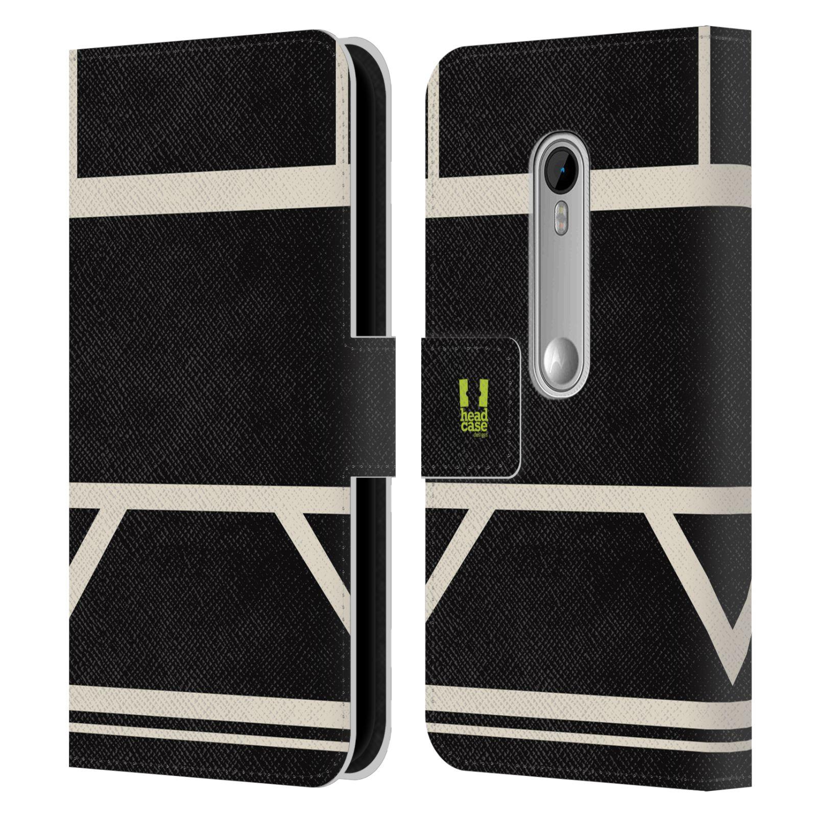 HEAD CASE Flipové pouzdro pro mobil Motorola MOTO G 3RD GENERATION barevné tvary černá a bílá proužek