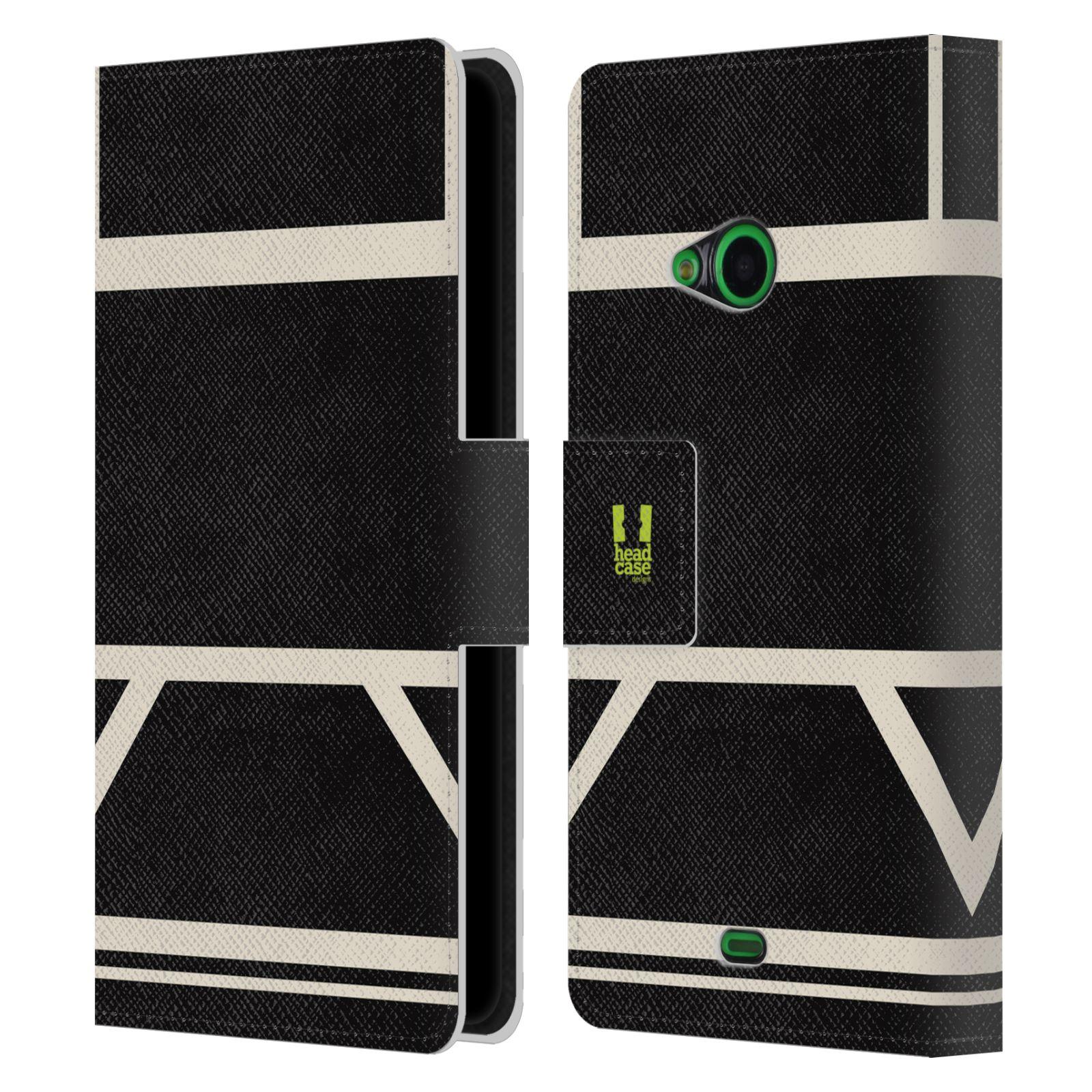 HEAD CASE Flipové pouzdro pro mobil Nokia LUMIA 535 barevné tvary černá a bílá proužek