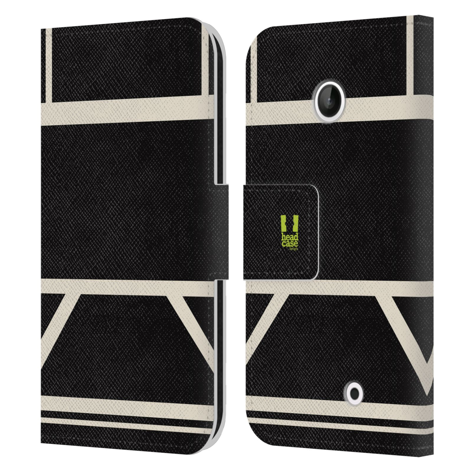 HEAD CASE Flipové pouzdro pro mobil Nokia LUMIA 630/630 DUAL barevné tvary černá a bílá proužek