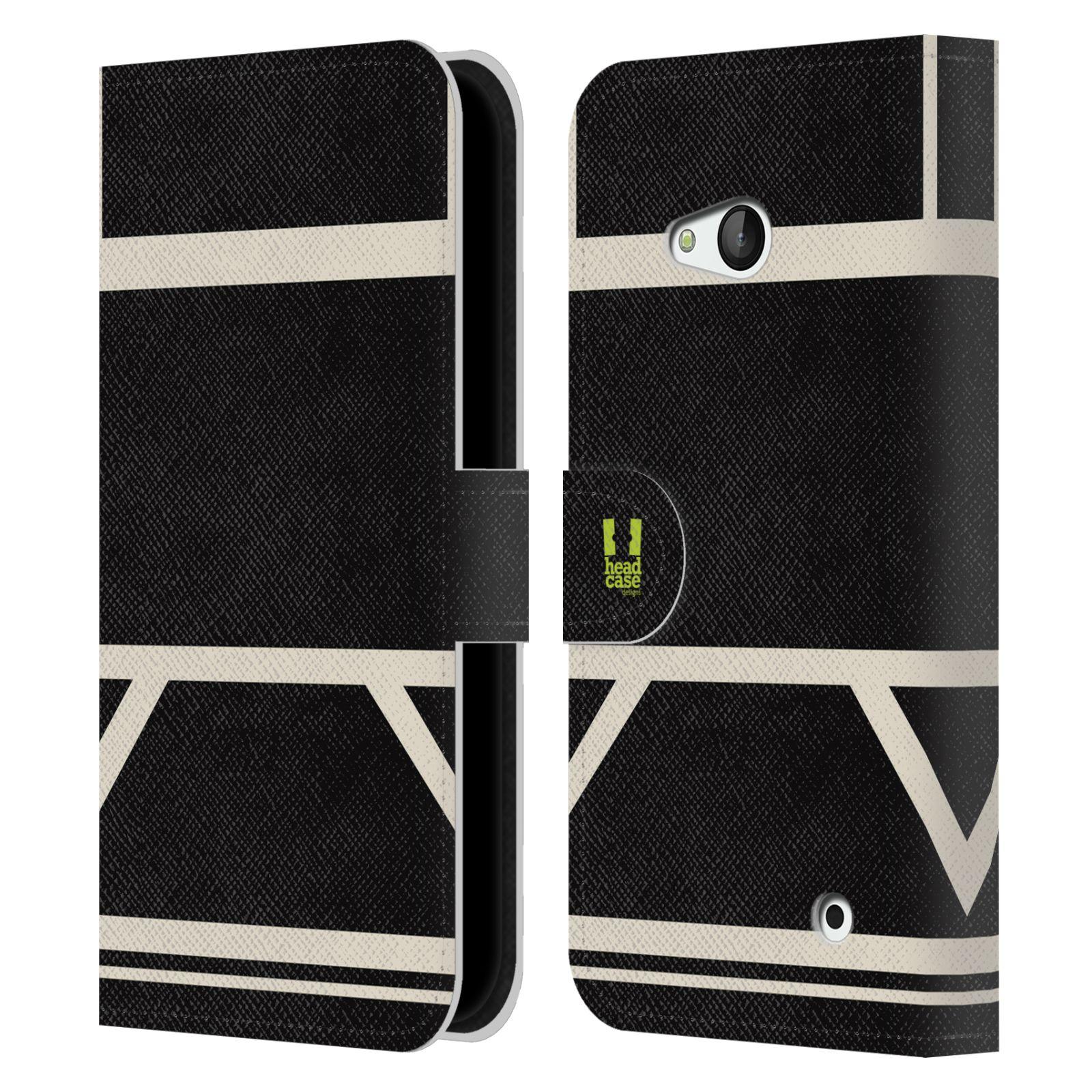 HEAD CASE Flipové pouzdro pro mobil Nokia LUMIA 640 barevné tvary černá a bílá proužek