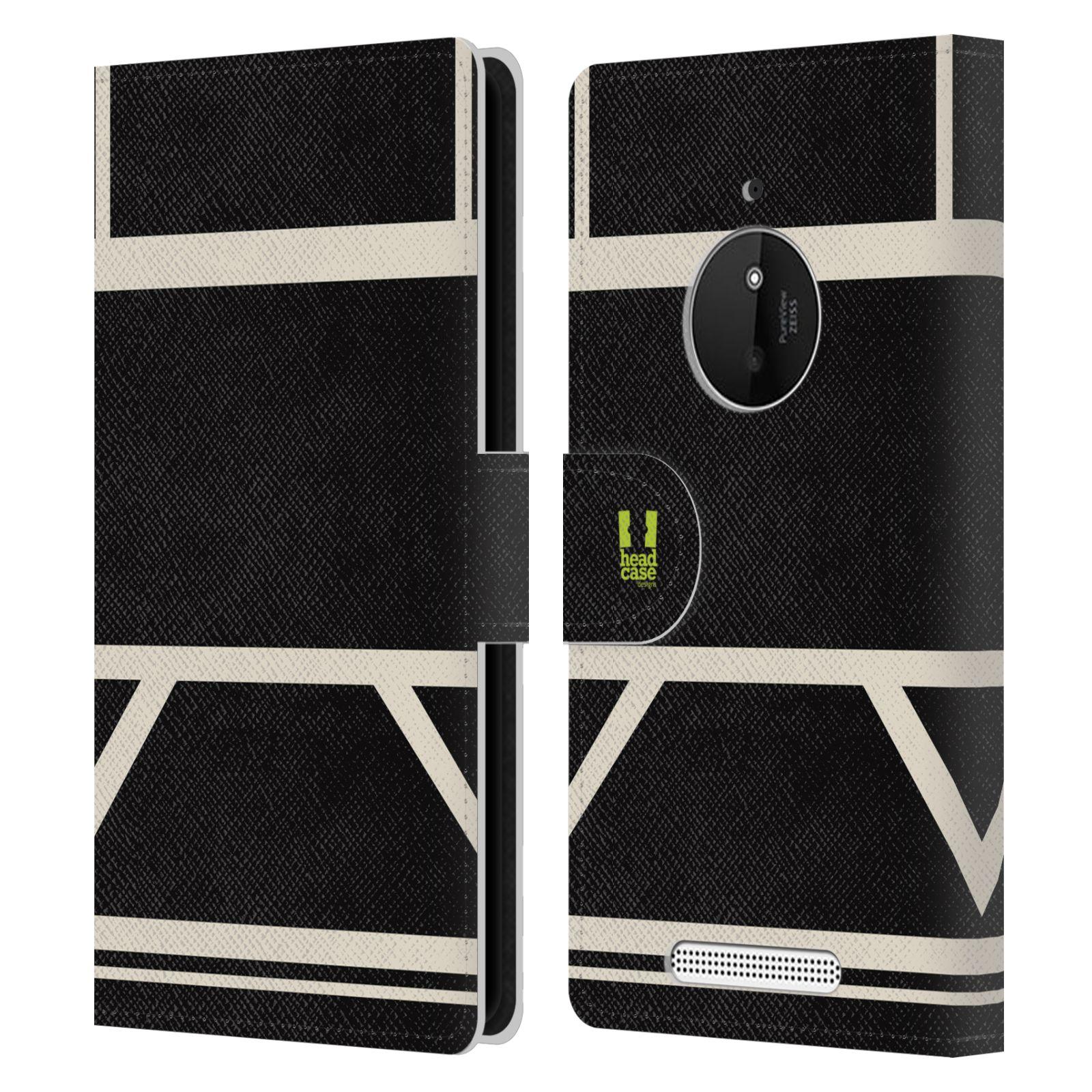 HEAD CASE Flipové pouzdro pro mobil Nokia LUMIA 830 barevné tvary černá a bílá proužek