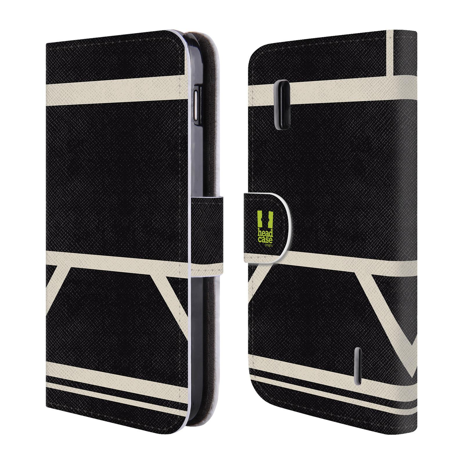 HEAD CASE Flipové pouzdro pro mobil LG NEXUS 4 barevné tvary černá a bílá proužek