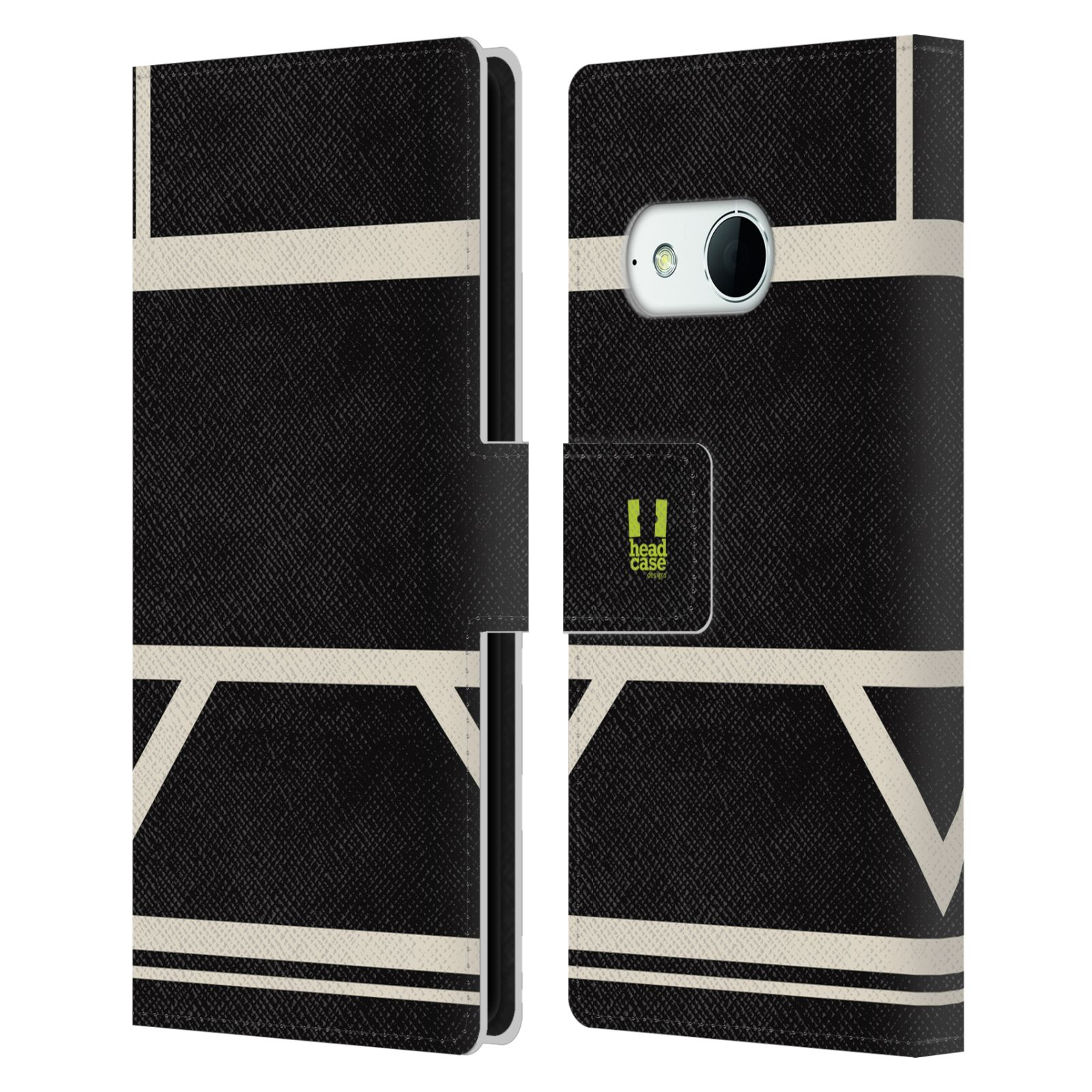 HEAD CASE Flipové pouzdro pro mobil HTC ONE MINI 2 barevné tvary černá a bílá proužek