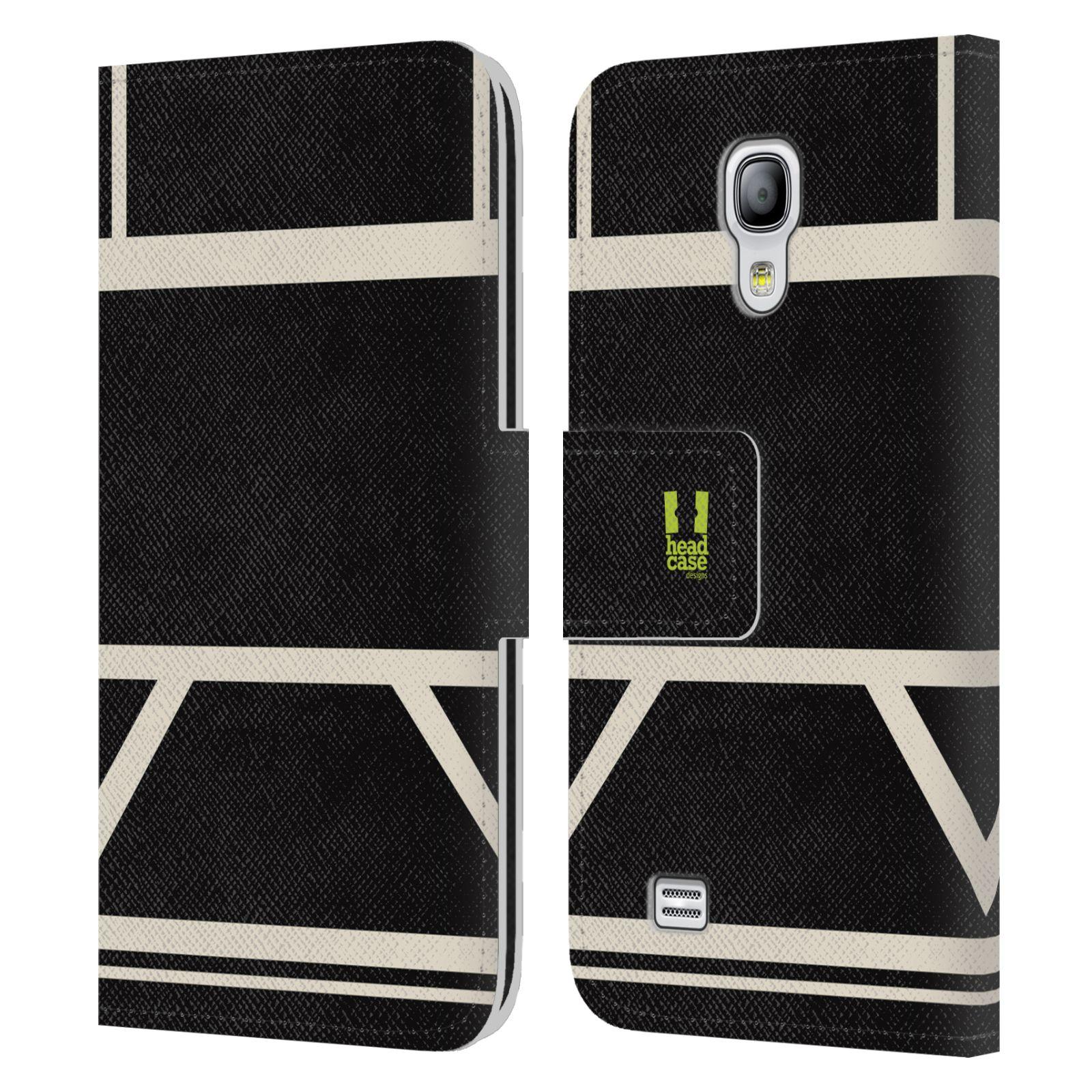 HEAD CASE Flipové pouzdro pro mobil Samsung Galaxy S4 MINI barevné tvary černá a bílá proužek