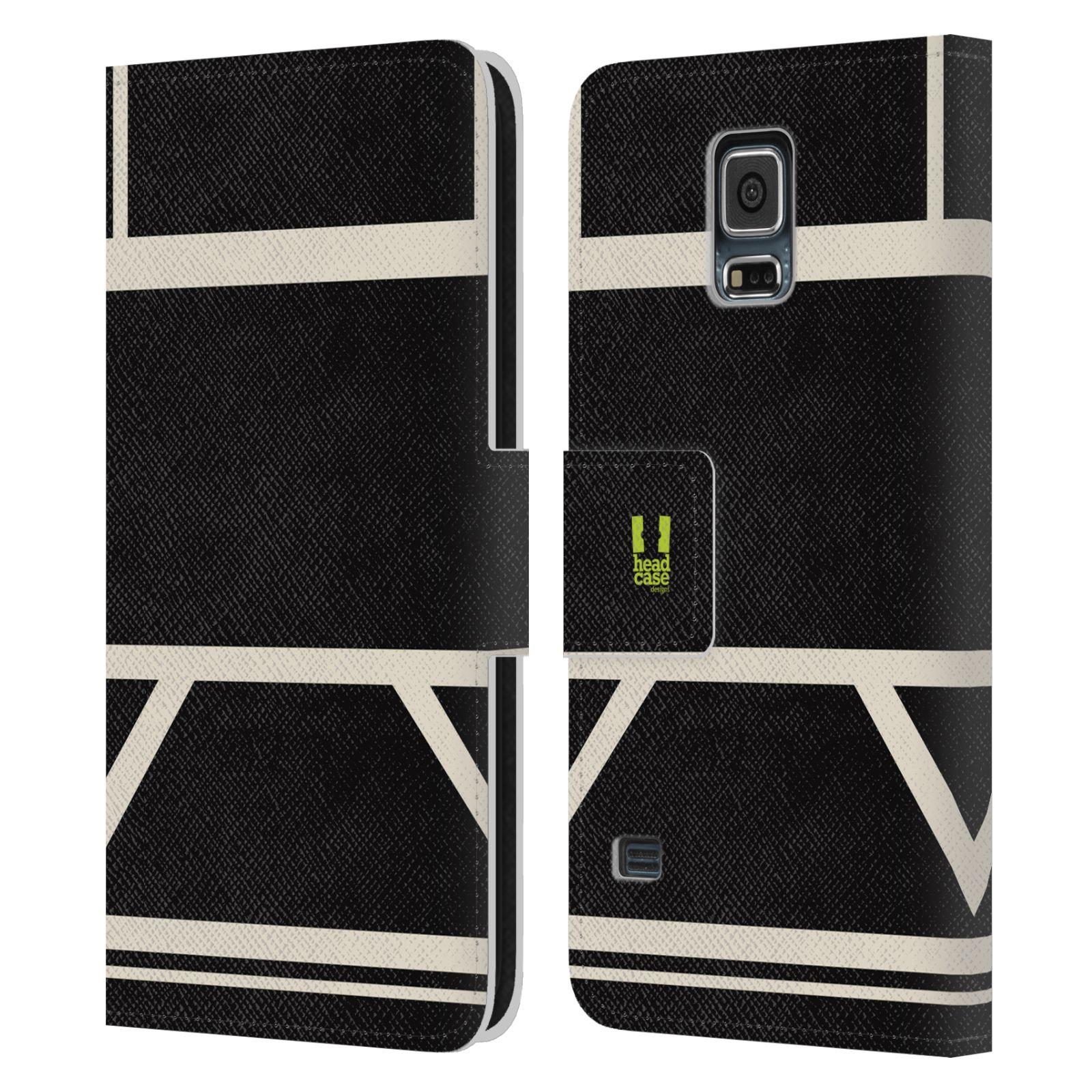 HEAD CASE Flipové pouzdro pro mobil Samsung Galaxy S5 barevné tvary černá a bílá proužek