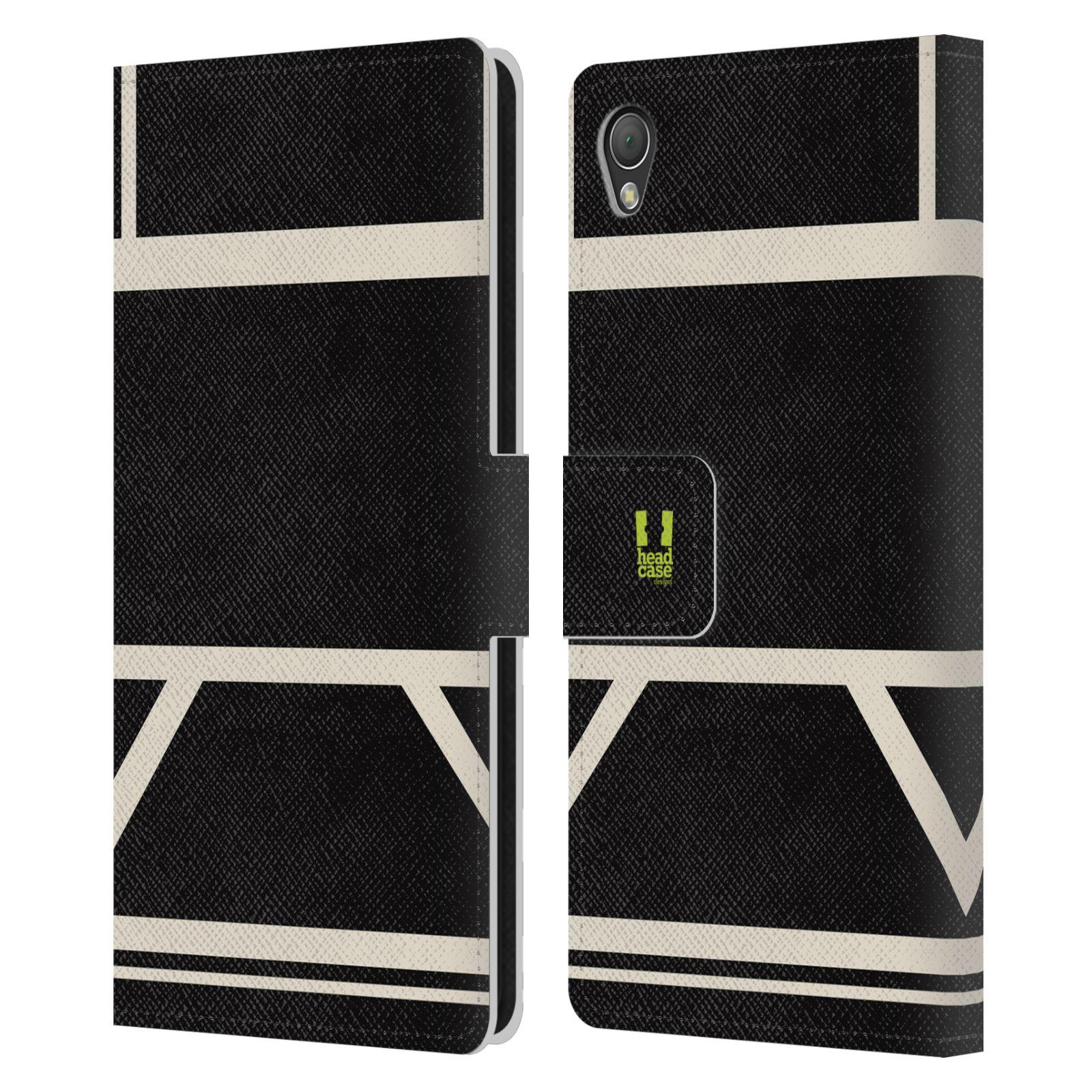 HEAD CASE Flipové pouzdro pro mobil SONY XPERIA Z3 barevné tvary černá a bílá proužek