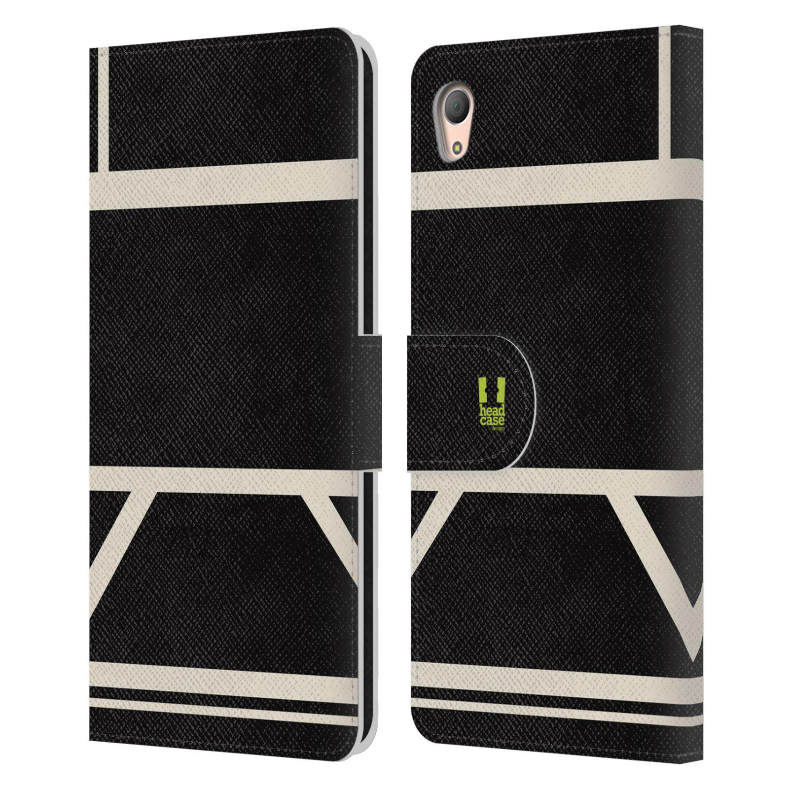 HEAD CASE Flipové pouzdro pro mobil SONY XPERIA Z3+(Z3 PLUS) barevné tvary černá a bílá proužek