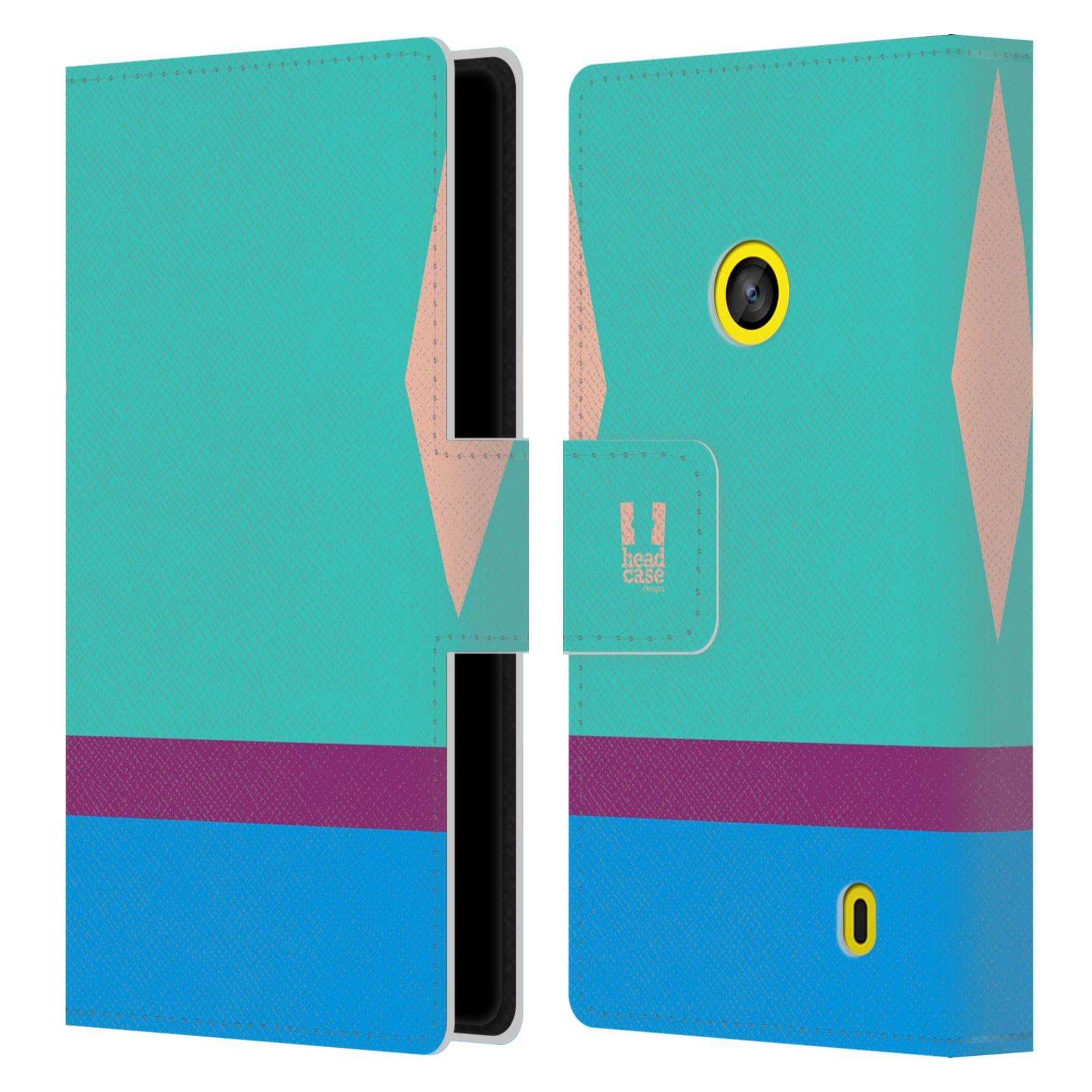 HEAD CASE Flipové pouzdro pro mobil Nokia LUMIA 520/525 barevné tvary modrá a fialový pruh