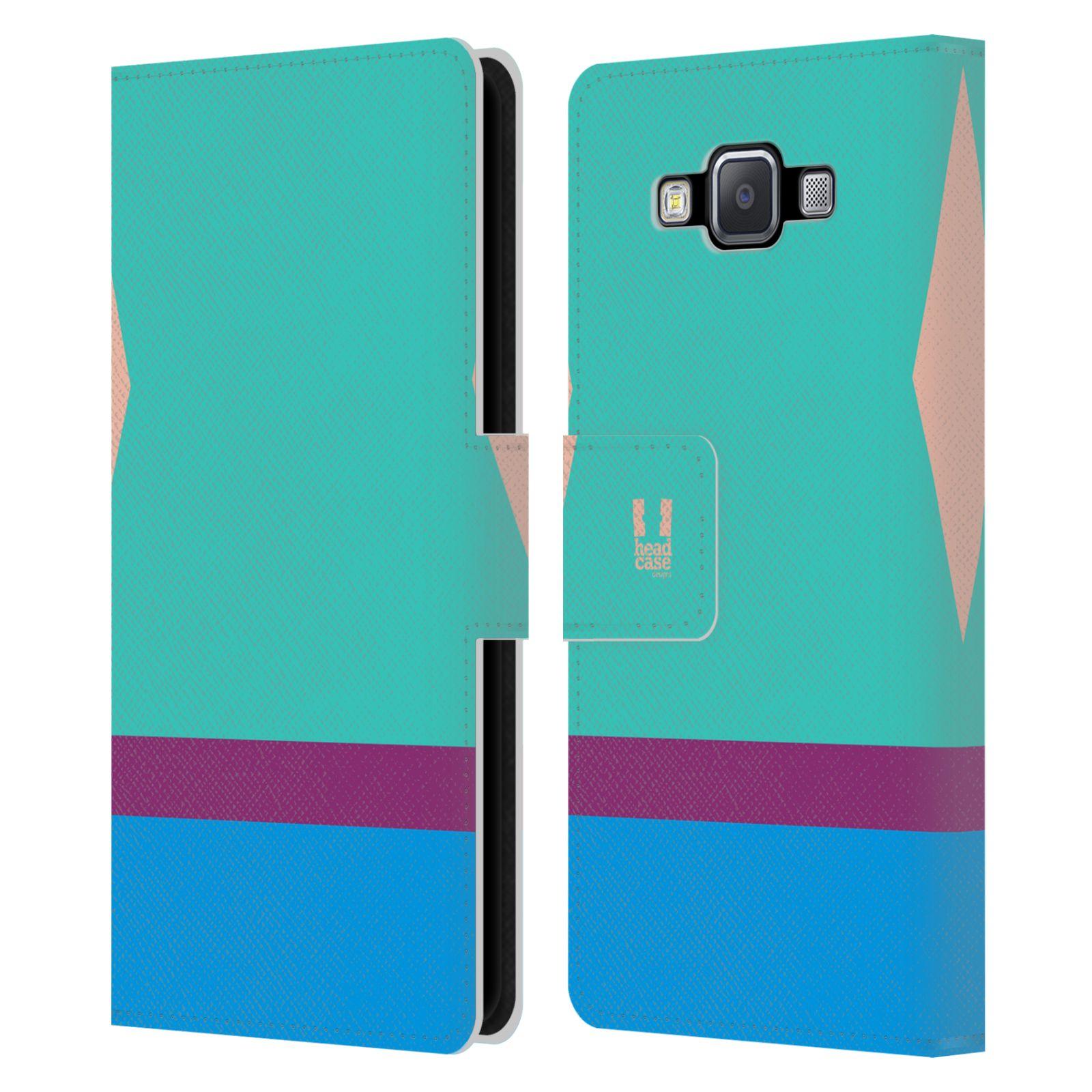 HEAD CASE Flipové pouzdro pro mobil Samsung Galaxy A5 barevné tvary modrá a fialový pruh