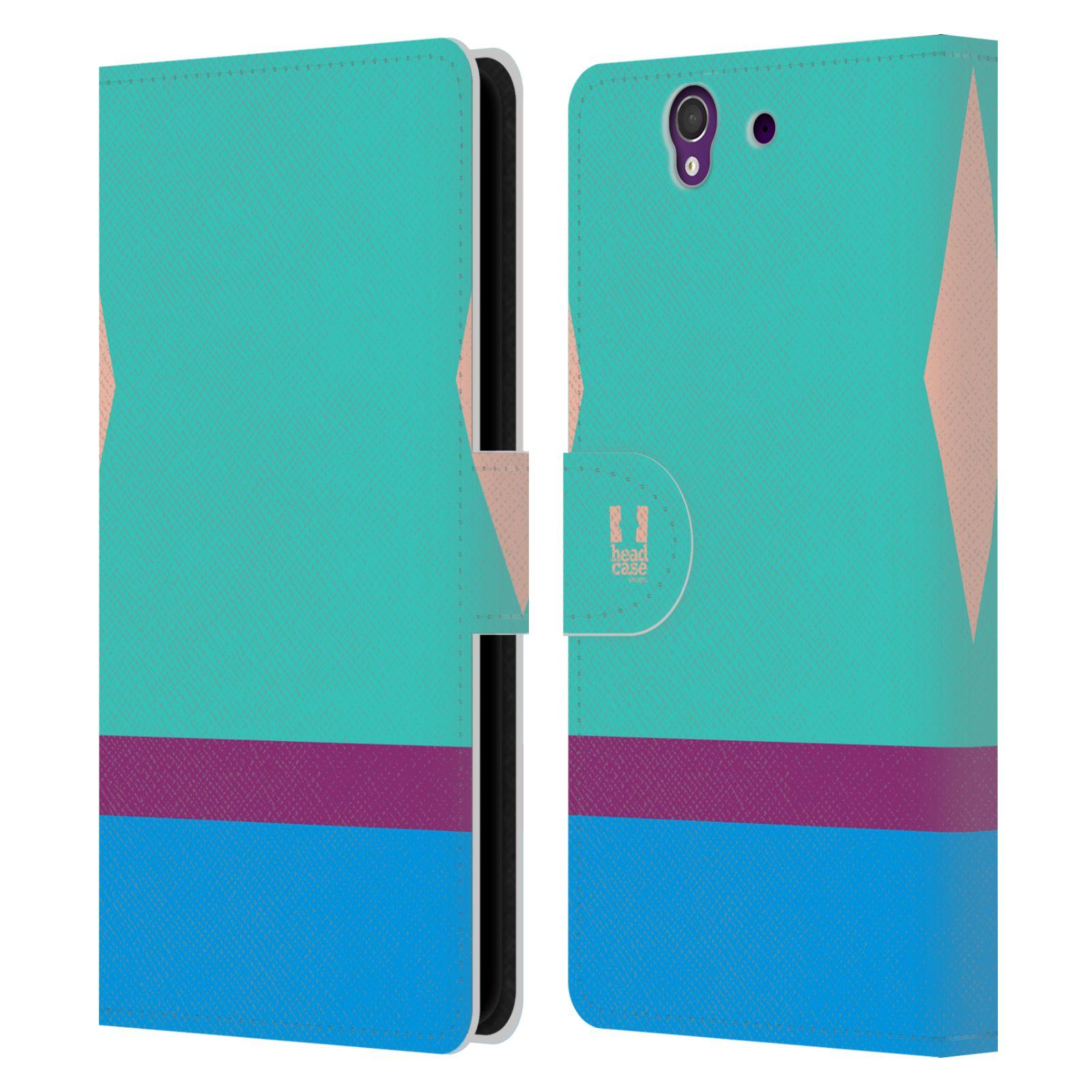 HEAD CASE Flipové pouzdro pro mobil SONY Xperia Z barevné tvary modrá a fialový pruh