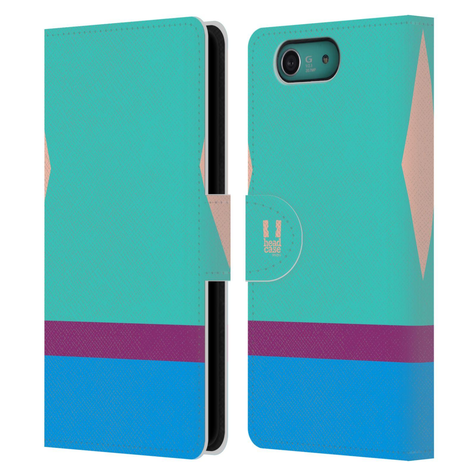 HEAD CASE Flipové pouzdro pro mobil SONY XPERIA Z3 COMPACT barevné tvary modrá a fialový pruh