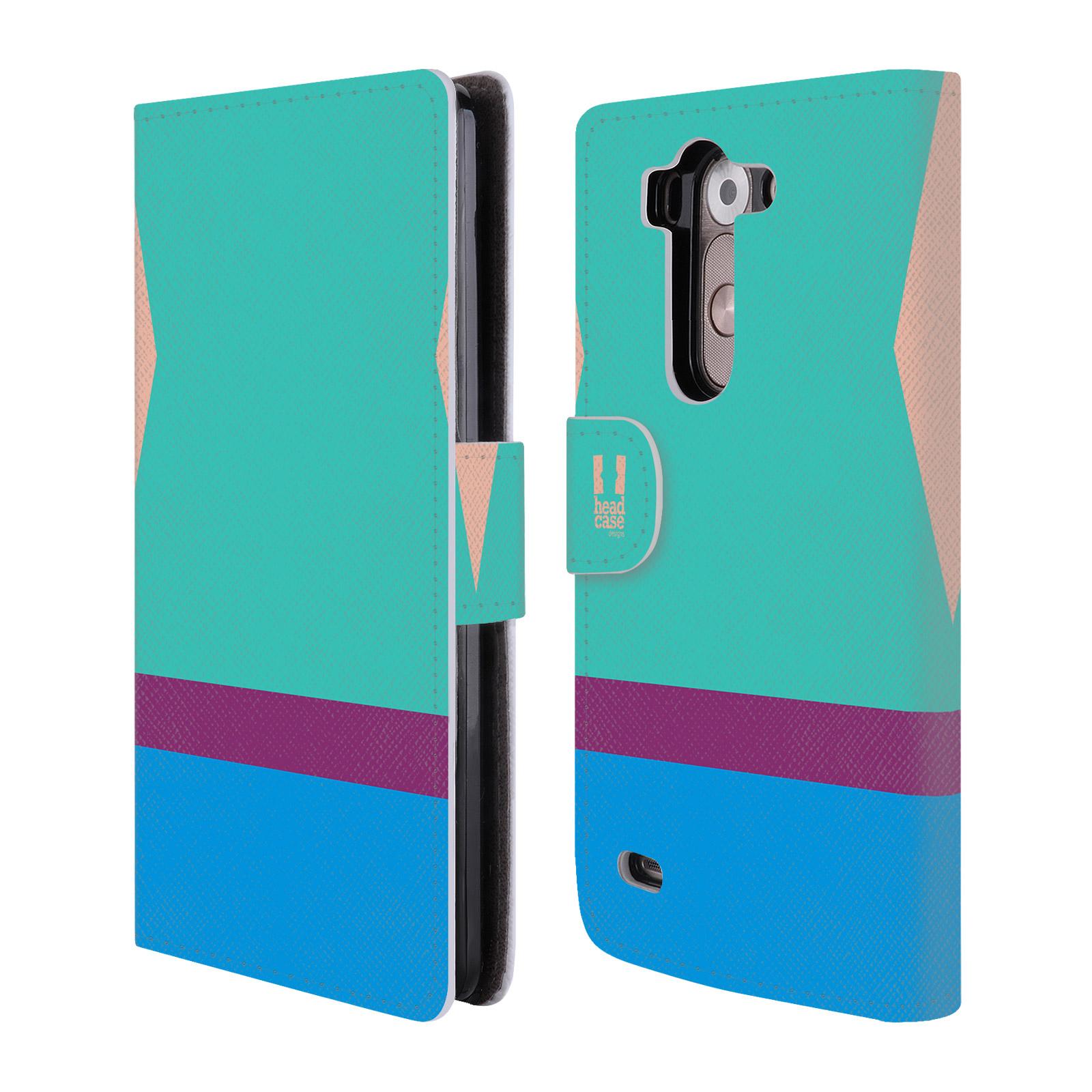 HEAD CASE Flipové pouzdro pro mobil LG G3s barevné tvary modrá a fialový pruh