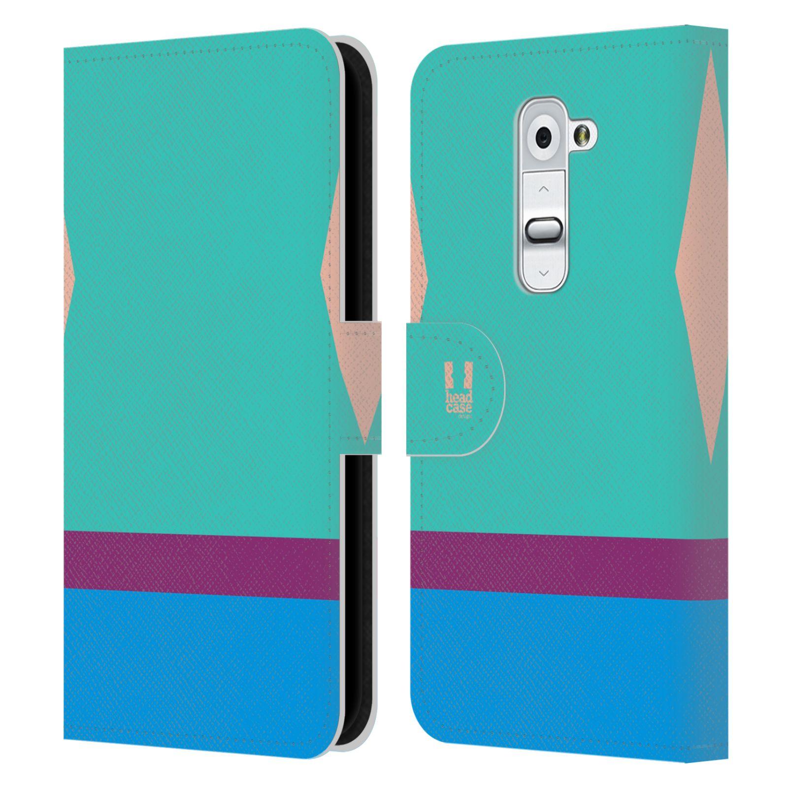 HEAD CASE Flipové pouzdro pro mobil LG G2 barevné tvary modrá a fialový pruh
