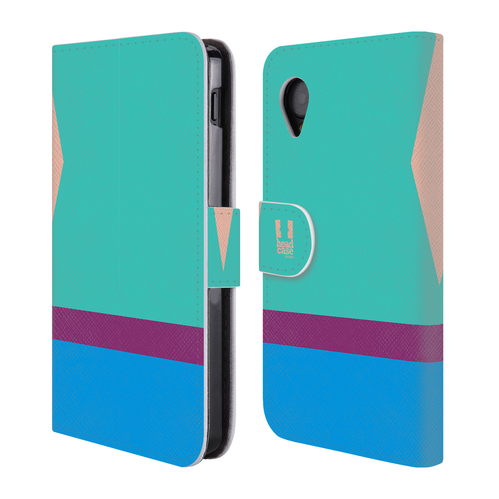 HEAD CASE Flipové pouzdro pro mobil LG GOOGLE NEXUS 5 barevné tvary modrá a fialový pruh