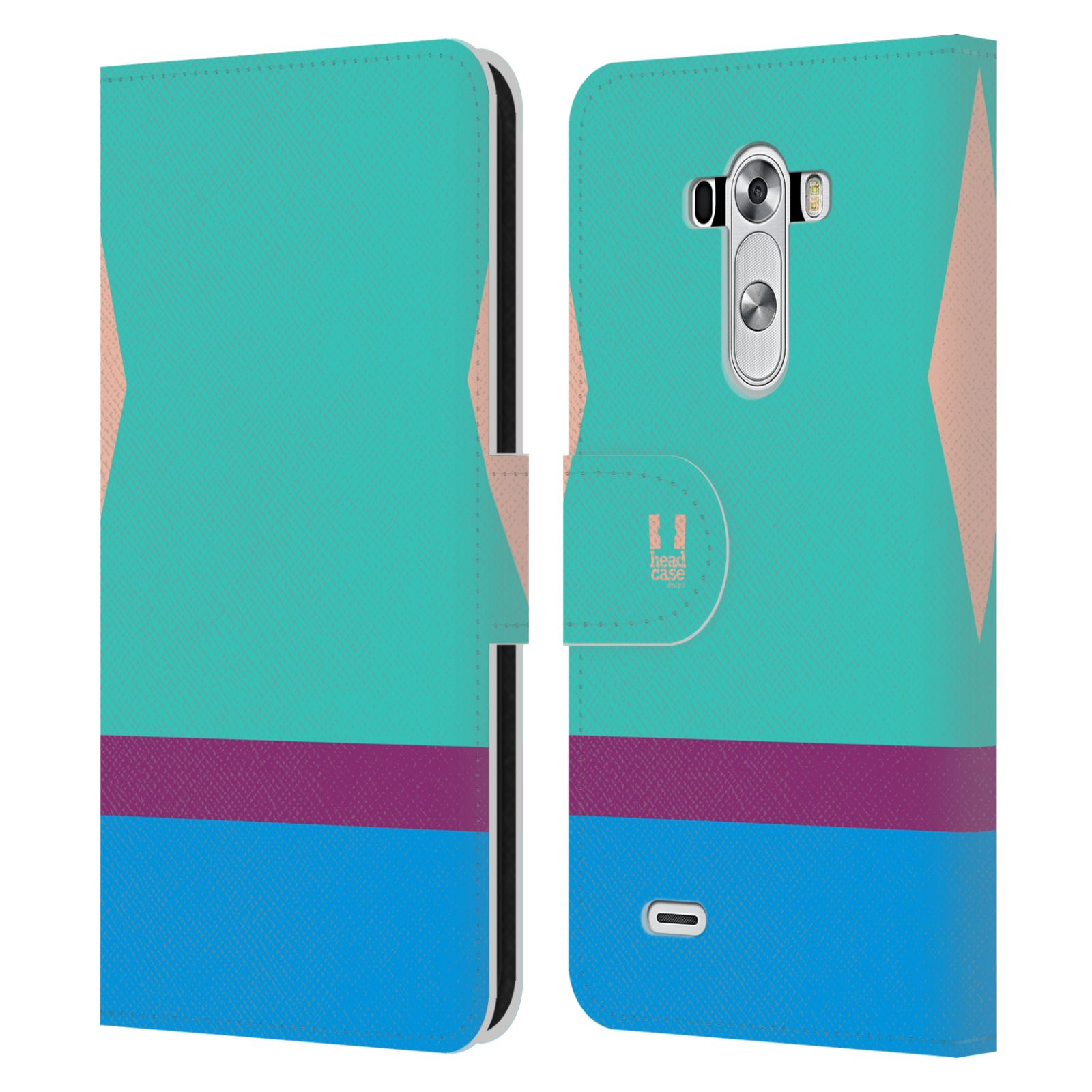 HEAD CASE Flipové pouzdro pro mobil LG G3 barevné tvary modrá a fialový pruh