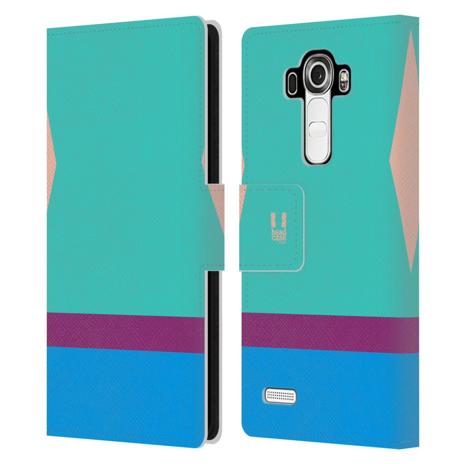HEAD CASE Flipové pouzdro pro mobil LG G4 barevné tvary modrá a fialový pruh