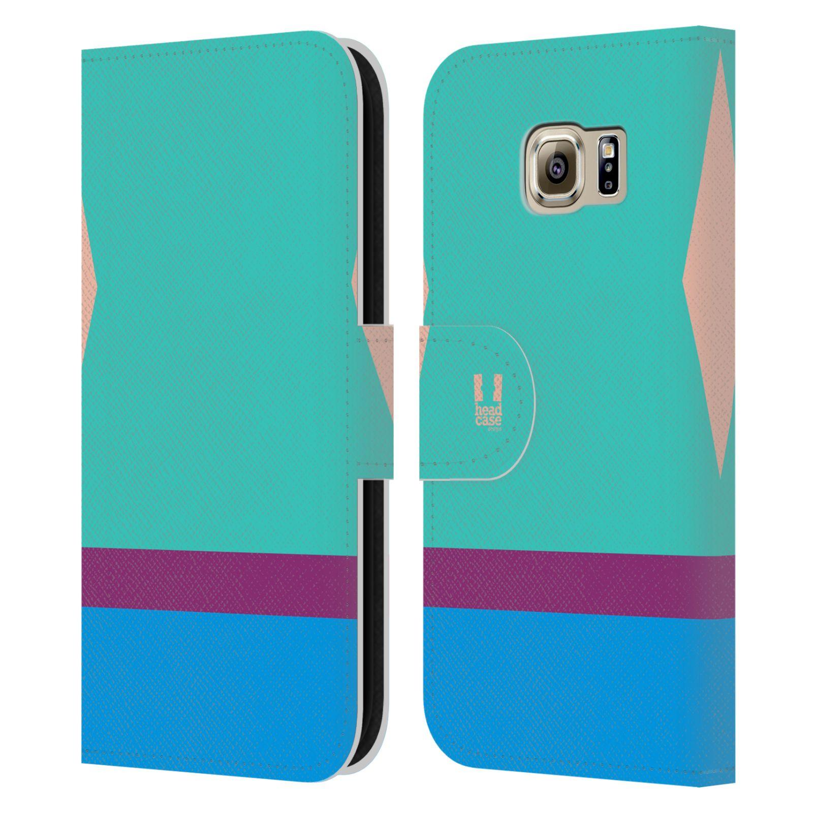 HEAD CASE Flipové pouzdro pro mobil Samsung Galaxy S6 barevné tvary modrá a fialový pruh