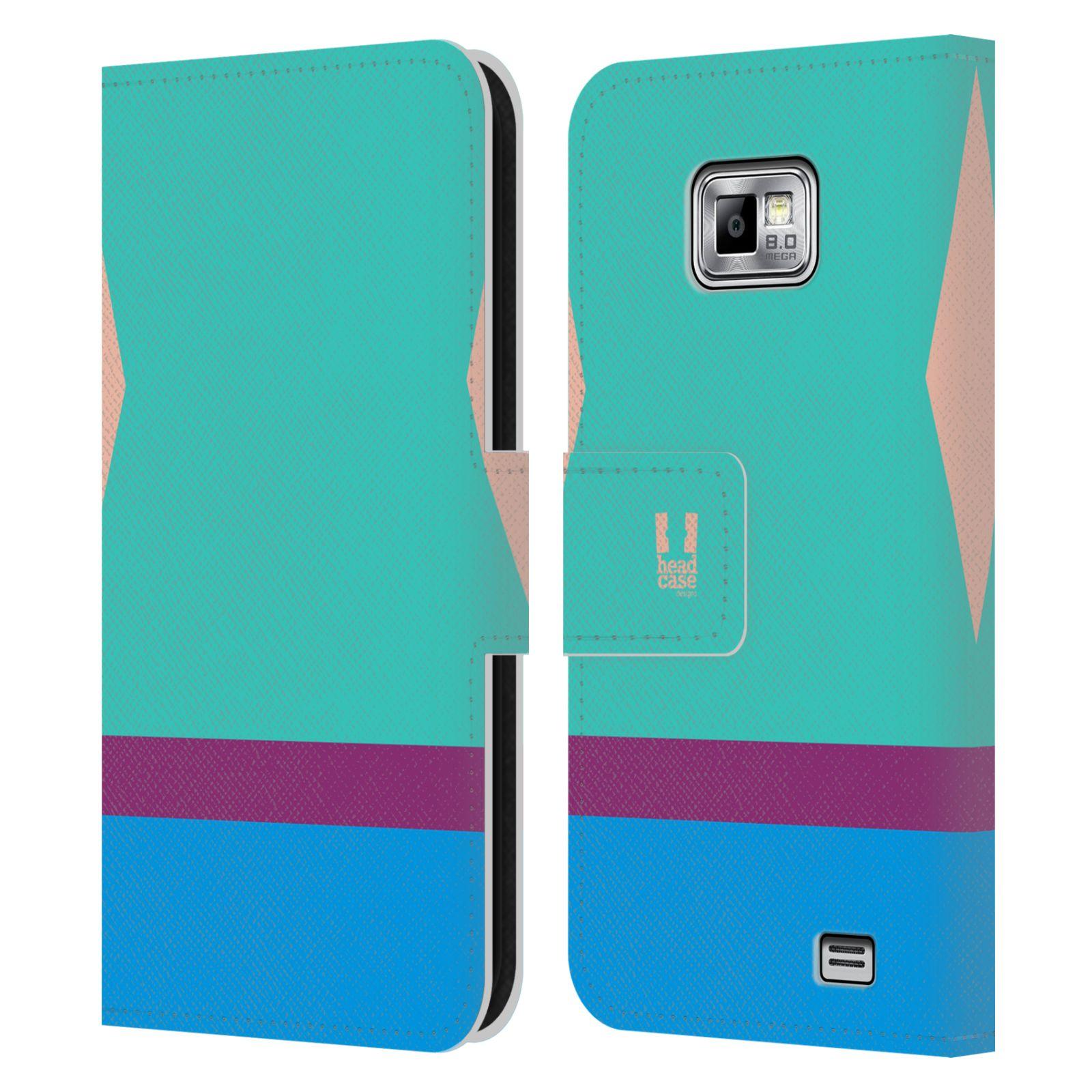 HEAD CASE Flipové pouzdro pro mobil Samsung Galaxy S2 i9100 barevné tvary modrá a fialový pruh