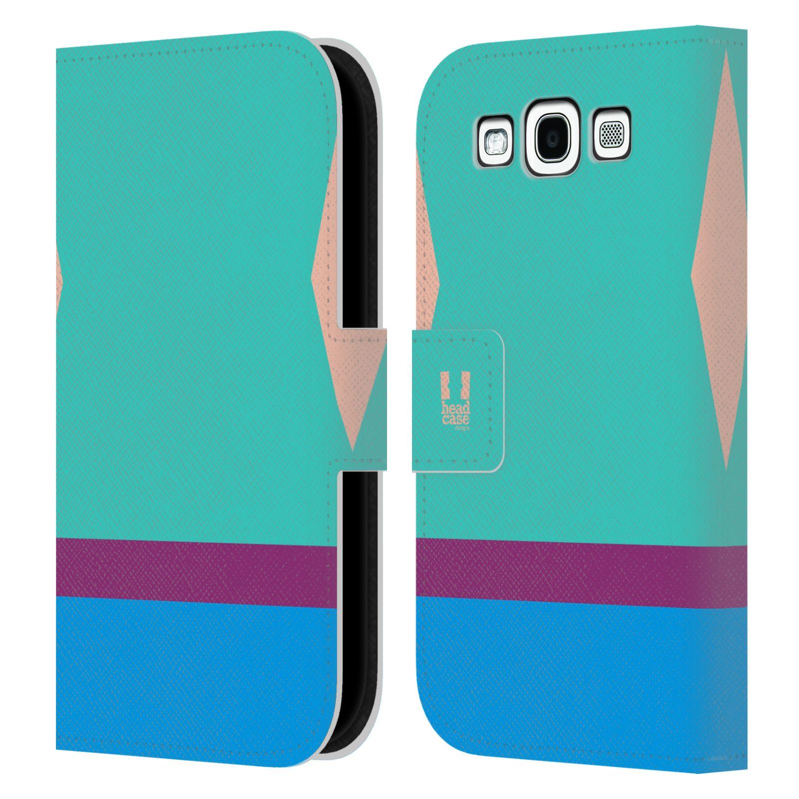 HEAD CASE Flipové pouzdro pro mobil Samsung Galaxy S3 I9300 barevné tvary modrá a fialový pruh