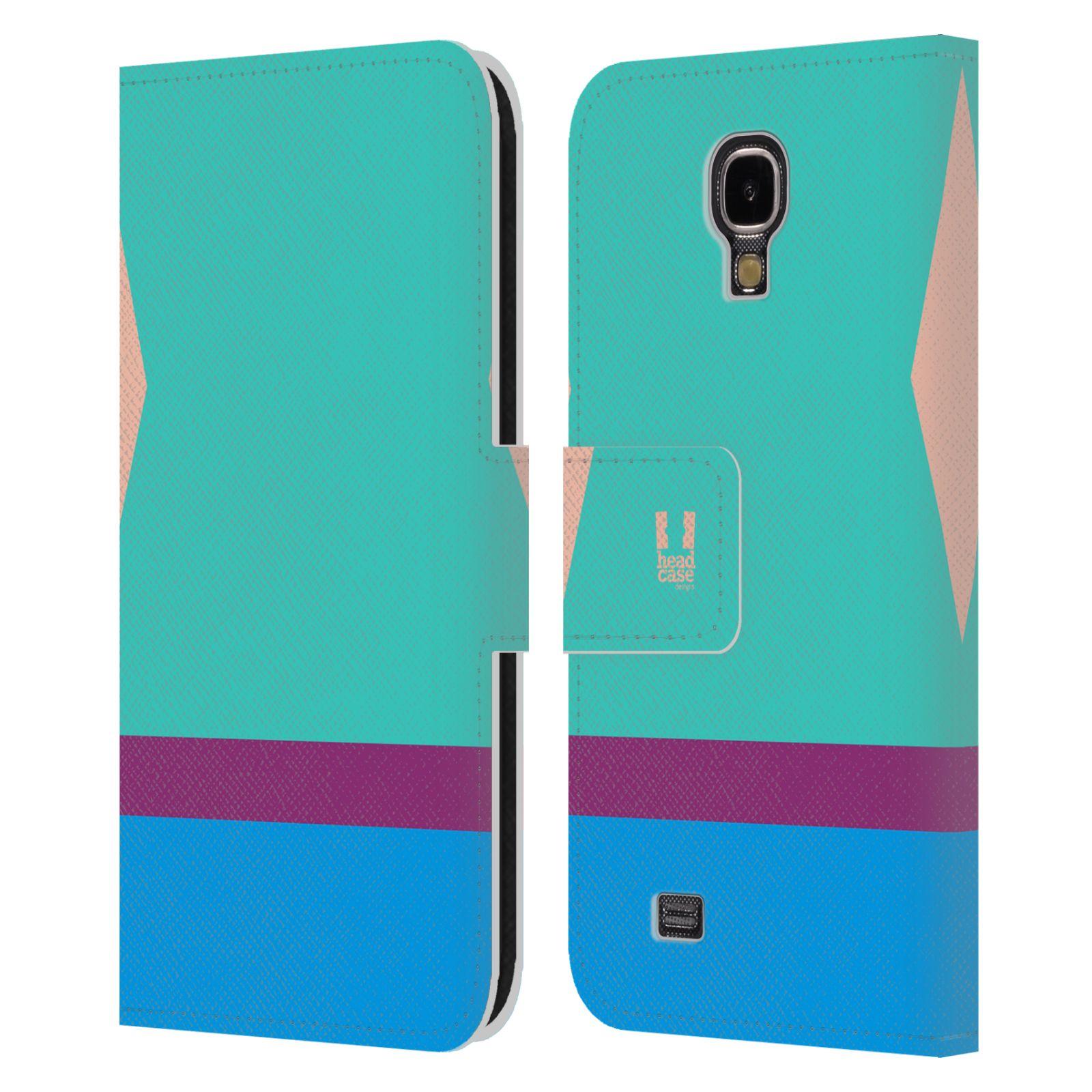 HEAD CASE Flipové pouzdro pro mobil Samsung Galaxy S4 I9500 barevné tvary modrá a fialový pruh
