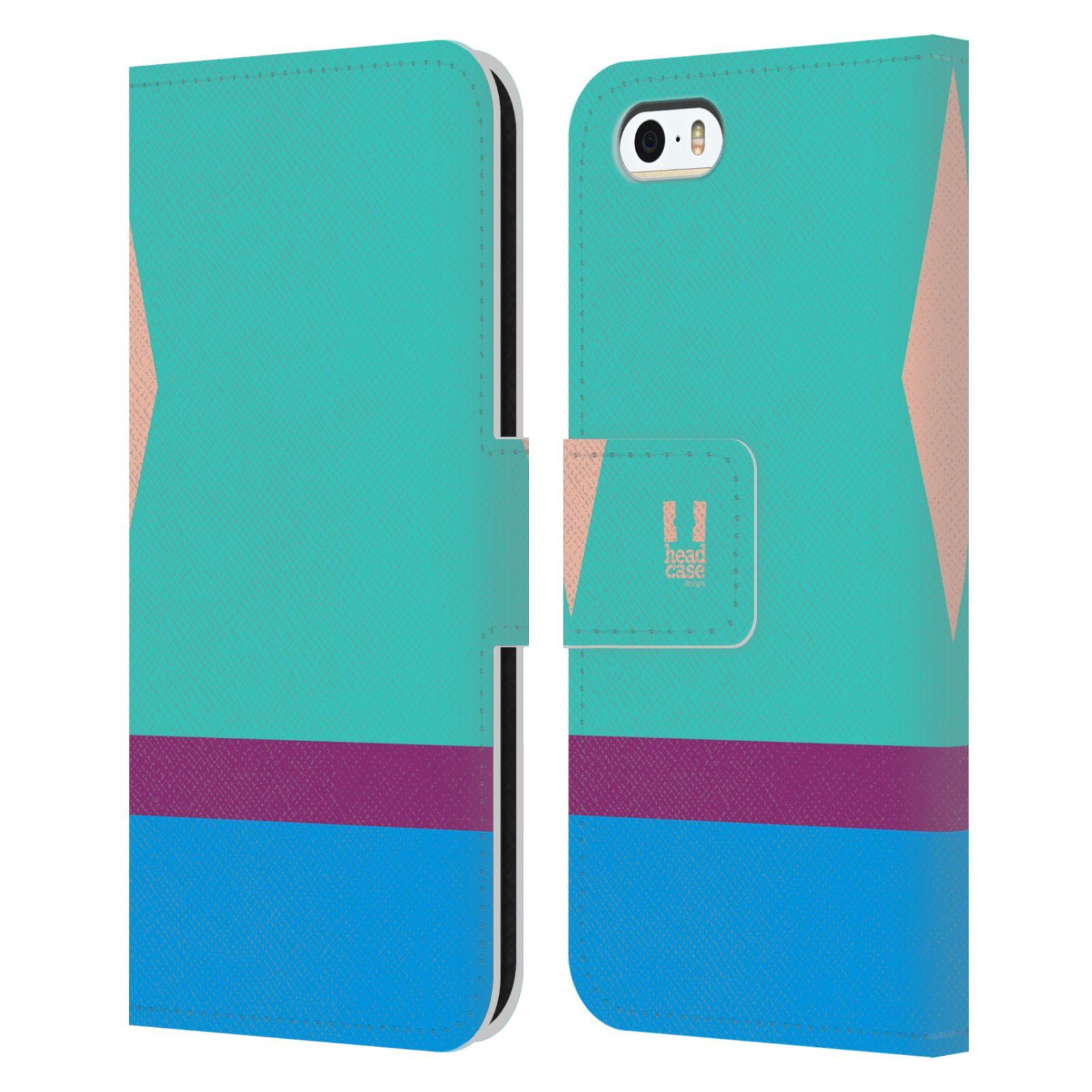 HEAD CASE Flipové pouzdro pro mobil Apple Iphone 5/5S barevné tvary modrá a fialový pruh