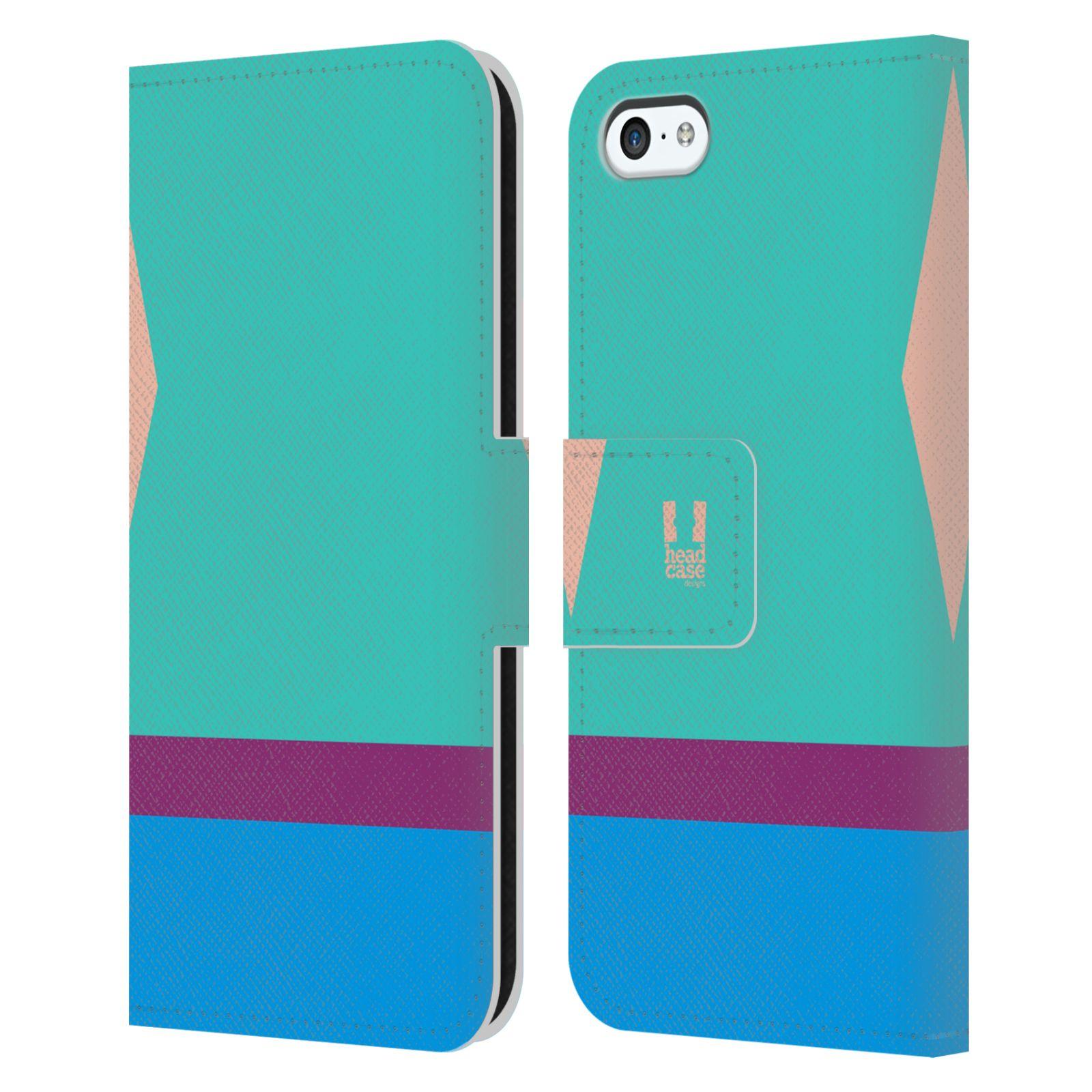 HEAD CASE Flipové pouzdro pro mobil Apple Iphone 5C barevné tvary modrá a fialový pruh