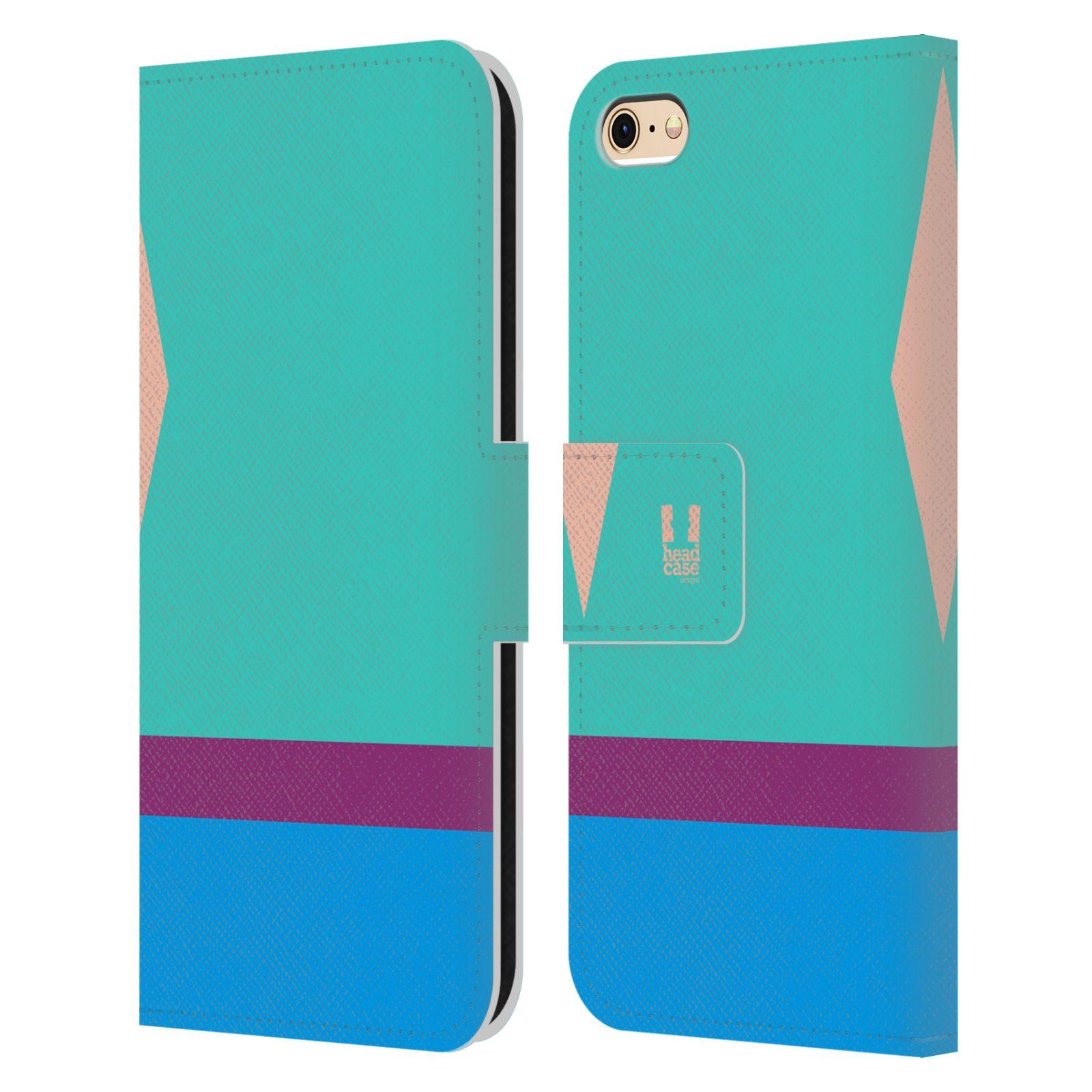 HEAD CASE Flipové pouzdro pro mobil Apple Iphone 6/6s barevné tvary modrá a fialový pruh