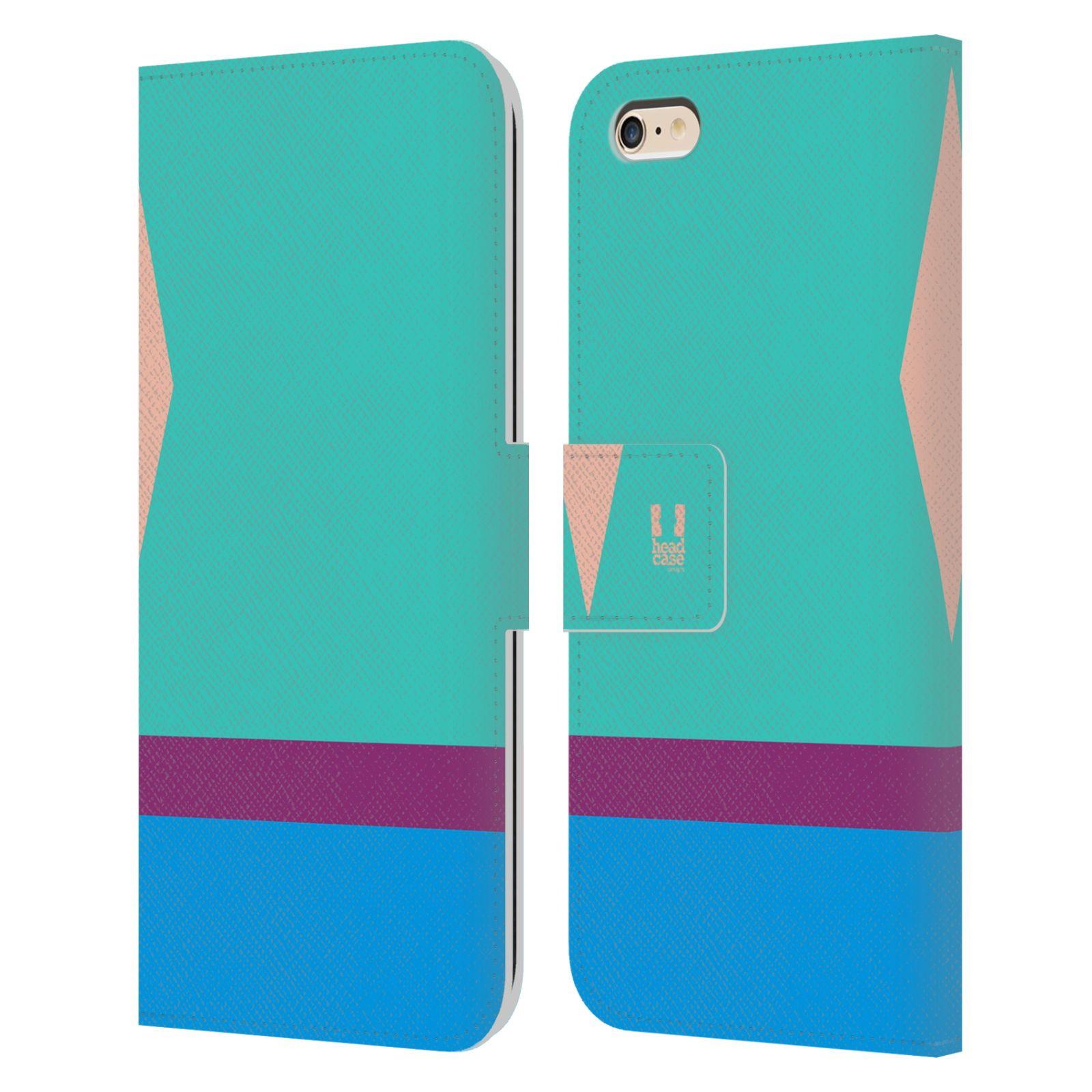 HEAD CASE Flipové pouzdro pro mobil Apple Iphone 6 PLUS/6S PLUS barevné tvary modrá a fialový pruh