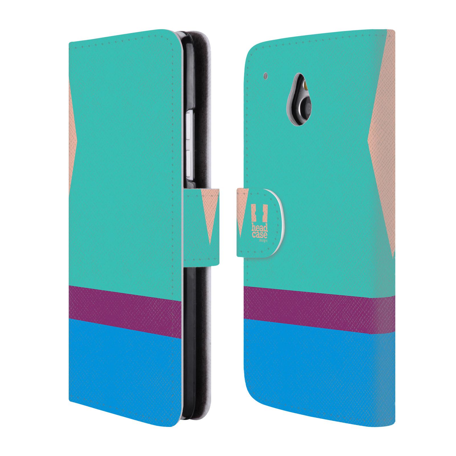 HEAD CASE Flipové pouzdro pro mobil HTC ONE MINI barevné tvary modrá a fialový pruh