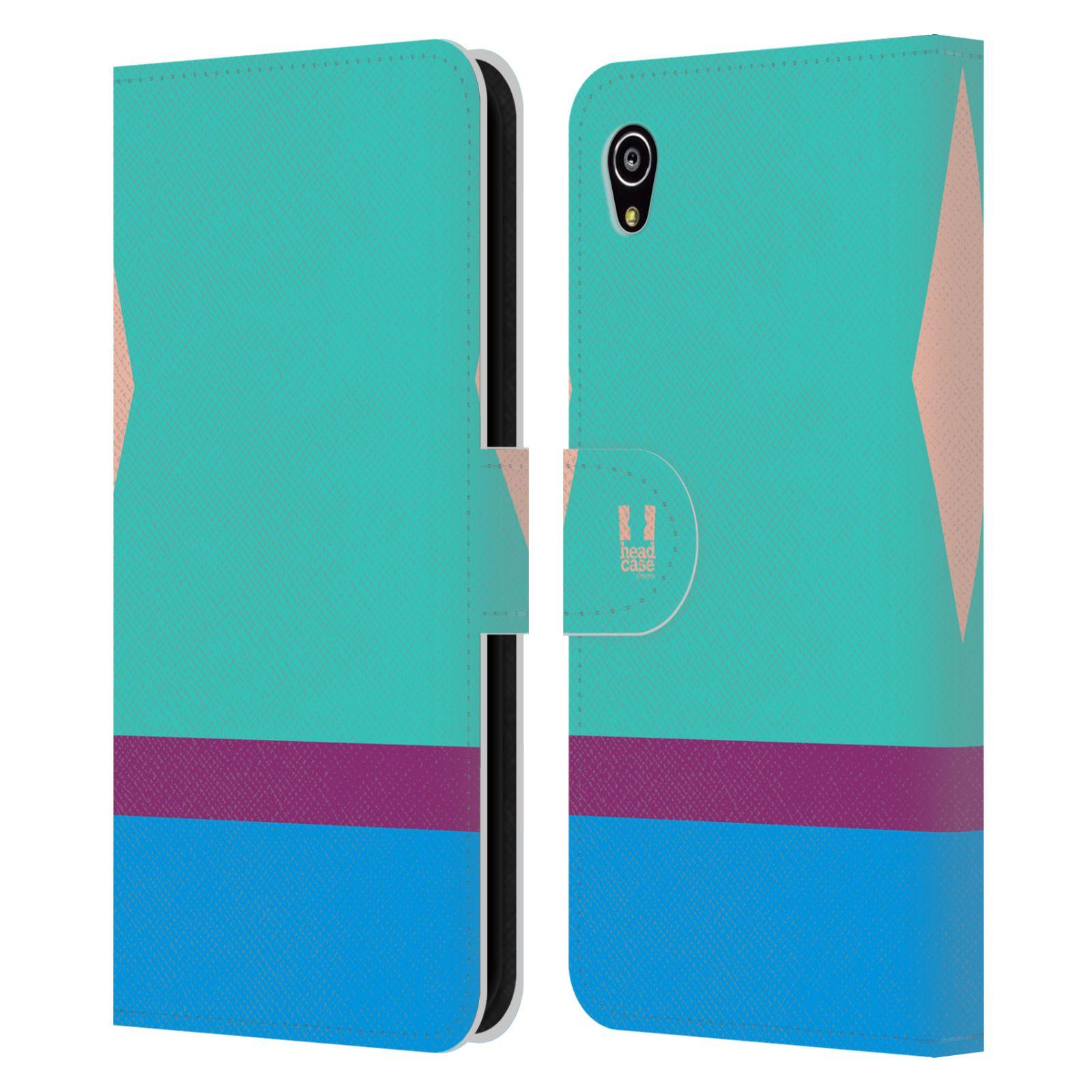 HEAD CASE Flipové pouzdro pro mobil SONY Xperia M4 Aqua barevné tvary modrá a fialový pruh