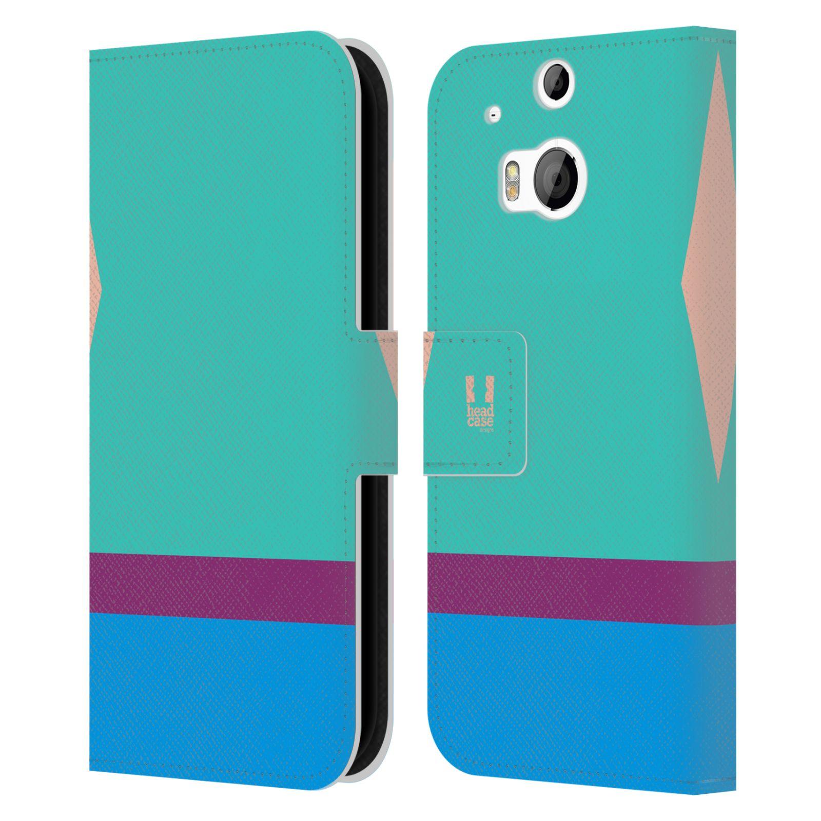 HEAD CASE Flipové pouzdro pro mobil HTC ONE M8/M8s barevné tvary modrá a fialový pruh