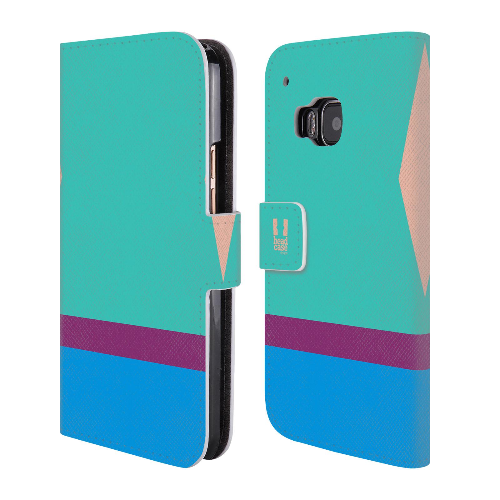 HEAD CASE Flipové pouzdro pro mobil HTC ONE M9 barevné tvary modrá a fialový pruh