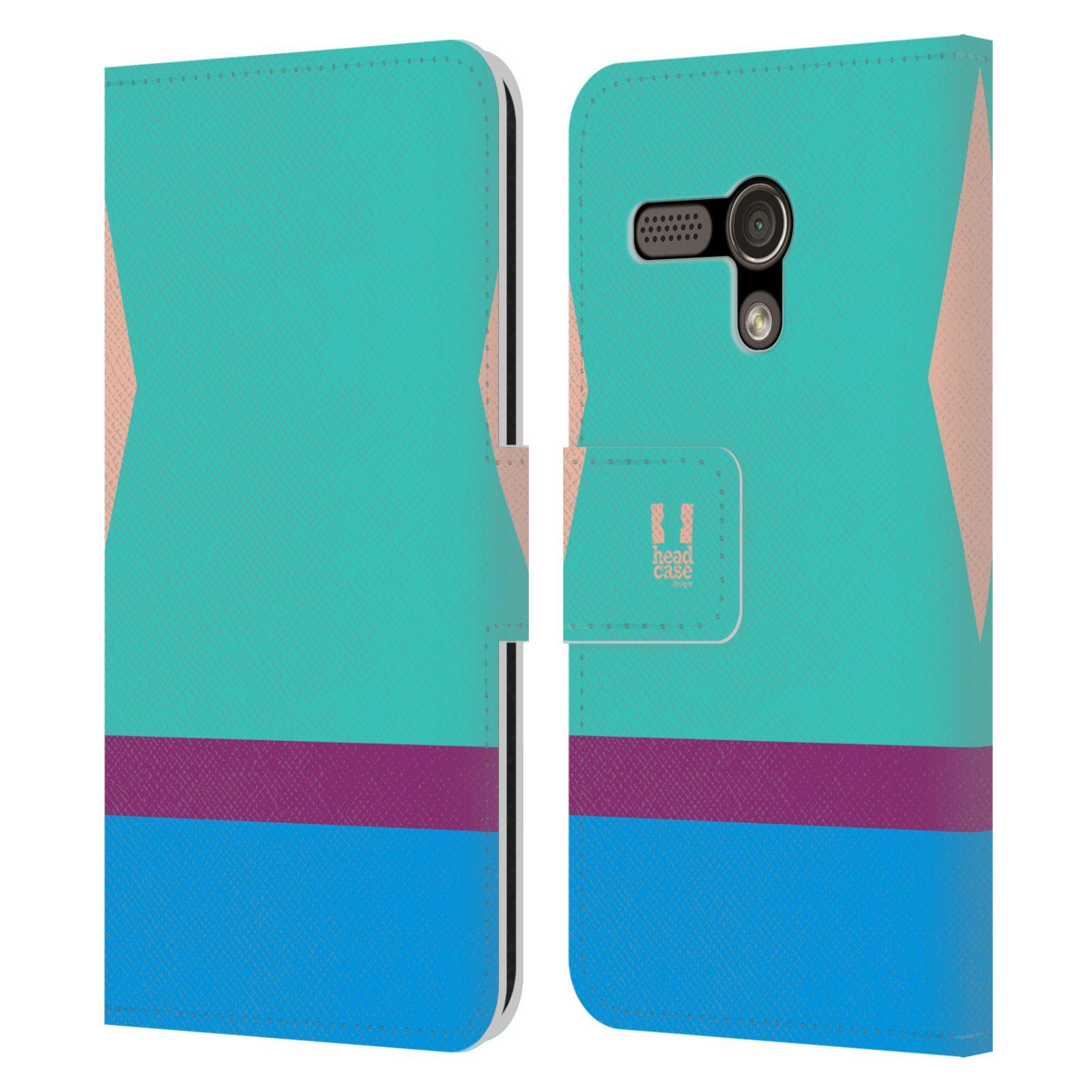 HEAD CASE Flipové pouzdro pro mobil Motorola MOTO G barevné tvary modrá a fialový pruh