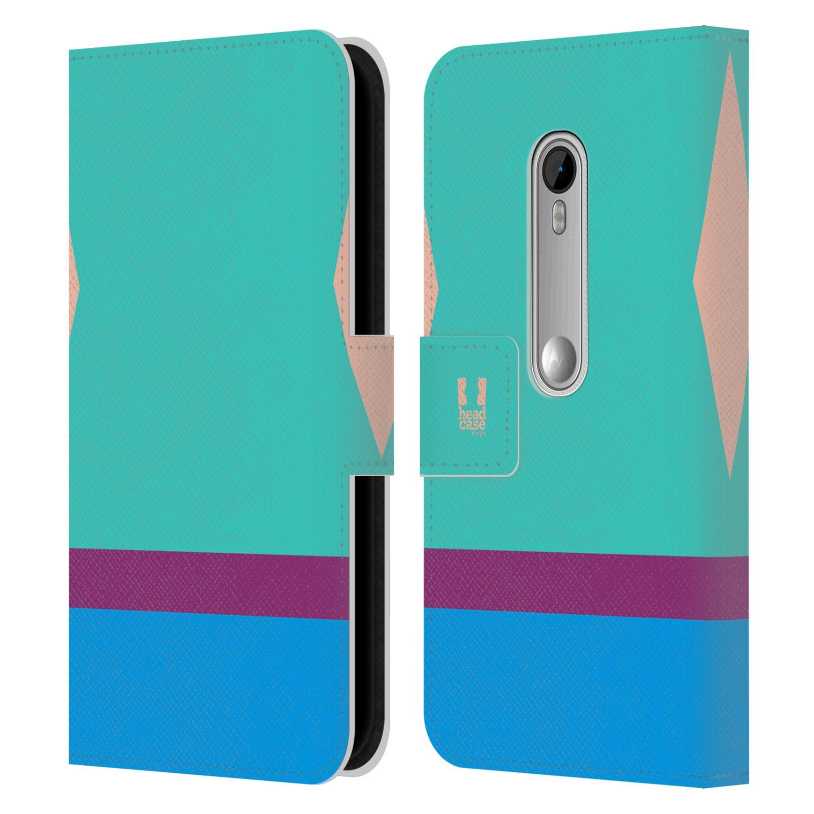 HEAD CASE Flipové pouzdro pro mobil Motorola MOTO G 3RD GENERATION barevné tvary modrá a fialový pruh