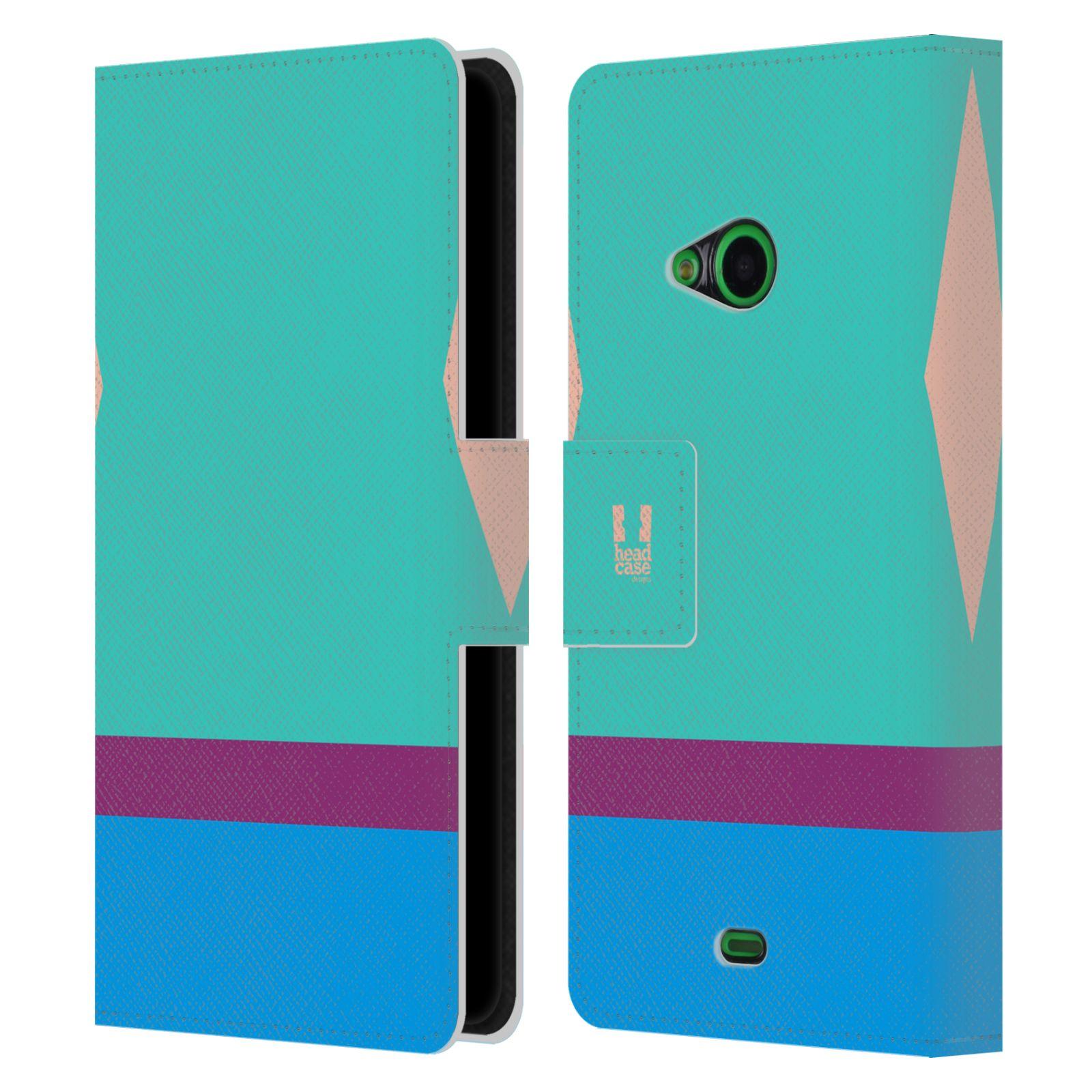 HEAD CASE Flipové pouzdro pro mobil Nokia LUMIA 535 barevné tvary modrá a fialový pruh