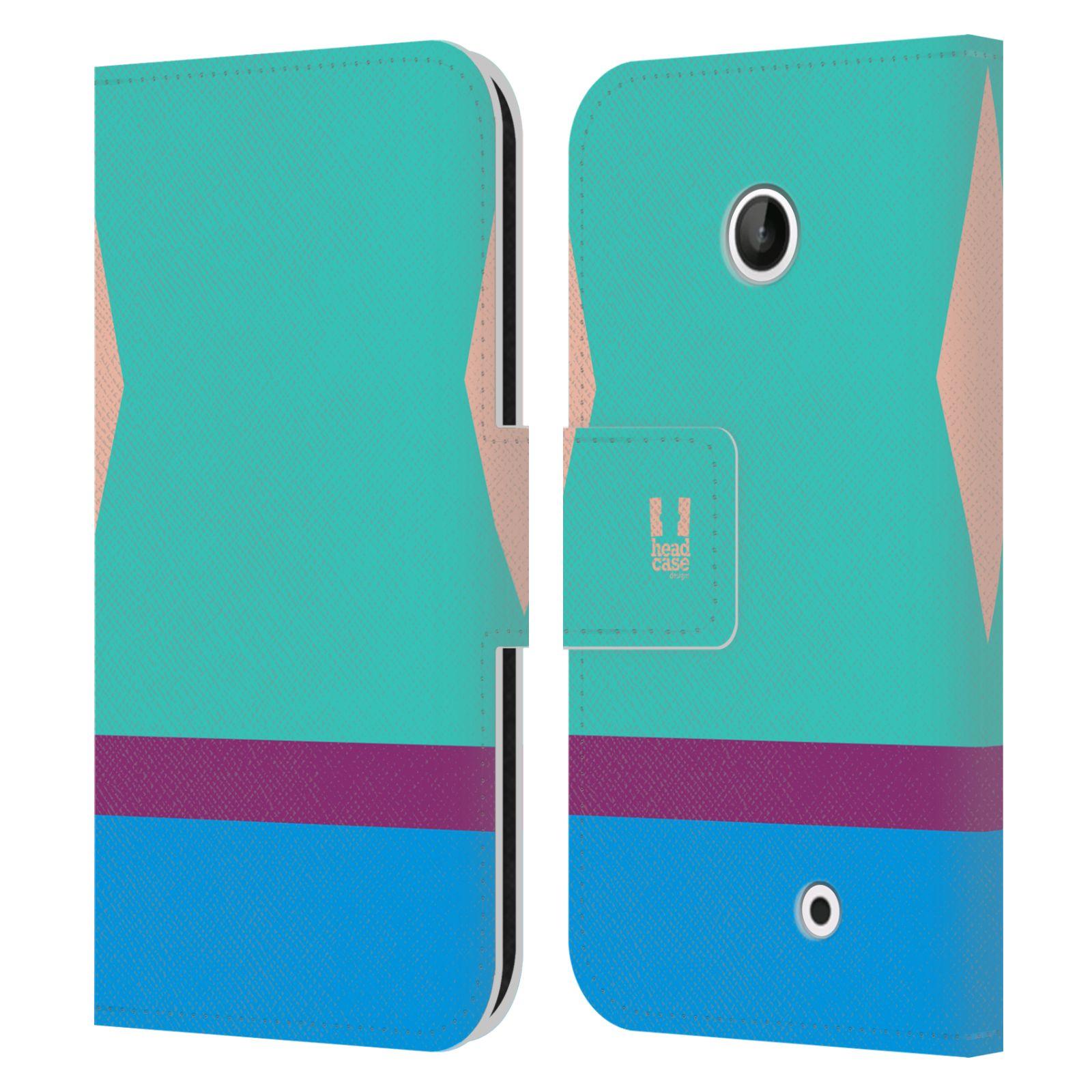 HEAD CASE Flipové pouzdro pro mobil Nokia LUMIA 630/630 DUAL barevné tvary modrá a fialový pruh