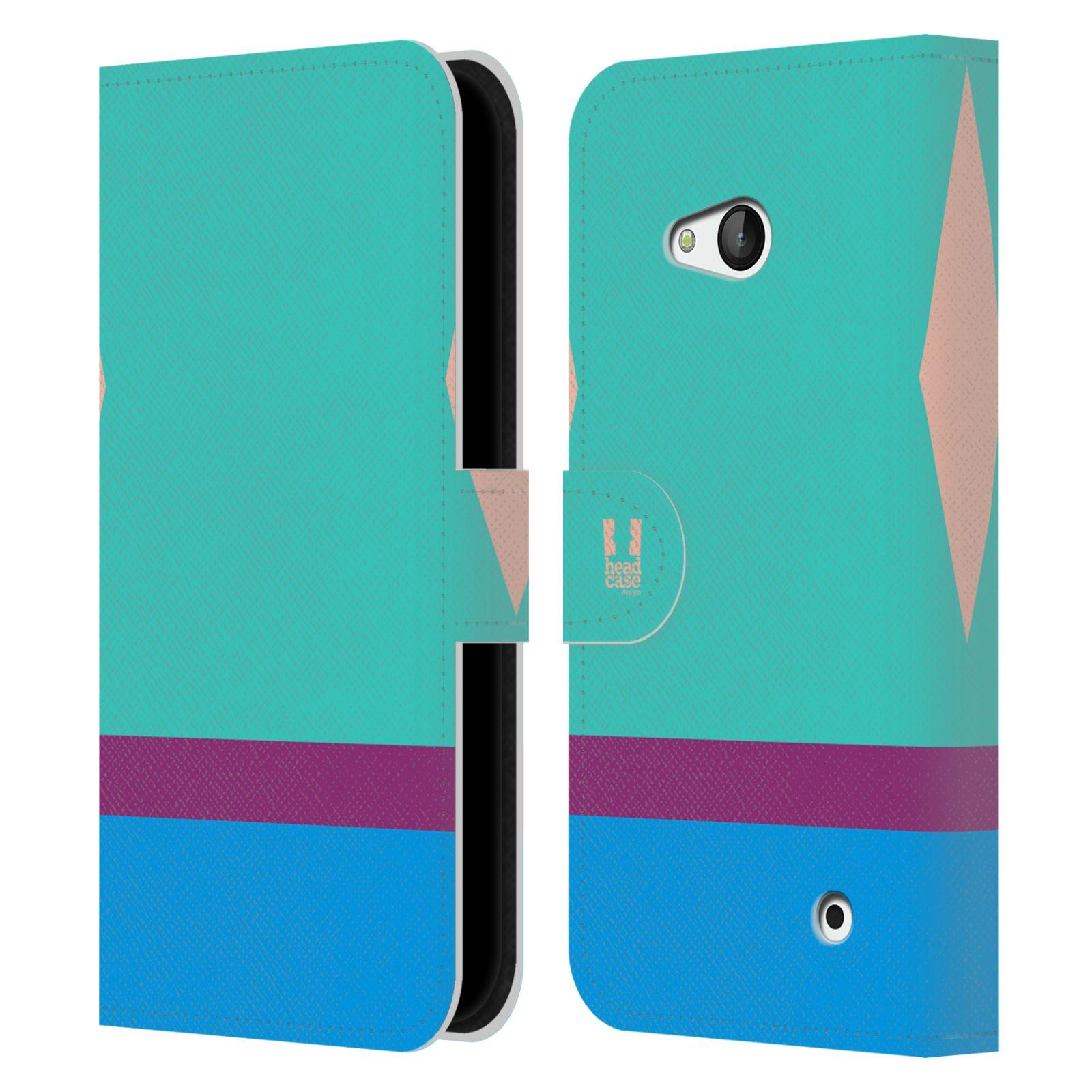 HEAD CASE Flipové pouzdro pro mobil Nokia LUMIA 640 barevné tvary modrá a fialový pruh