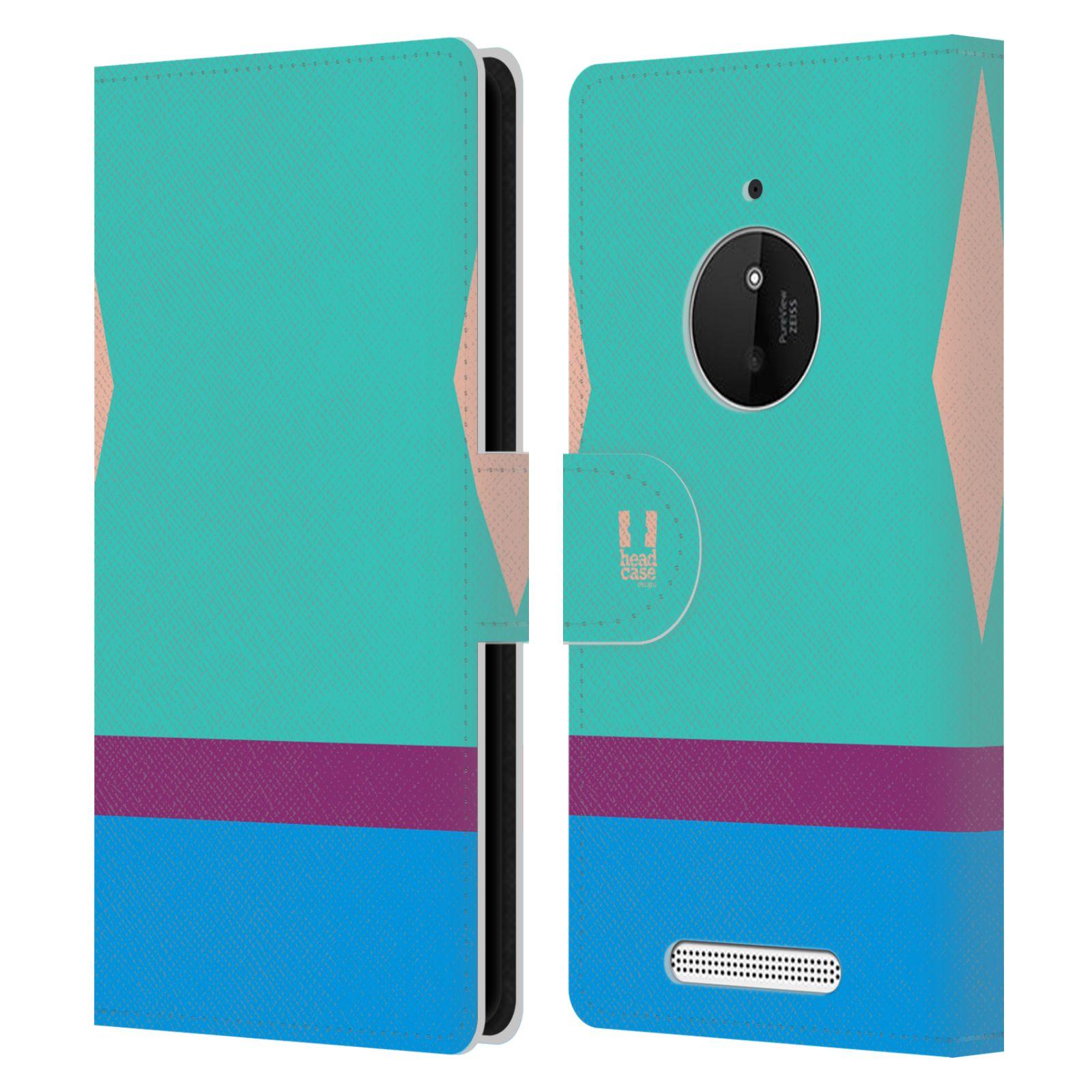 HEAD CASE Flipové pouzdro pro mobil Nokia LUMIA 830 barevné tvary modrá a fialový pruh