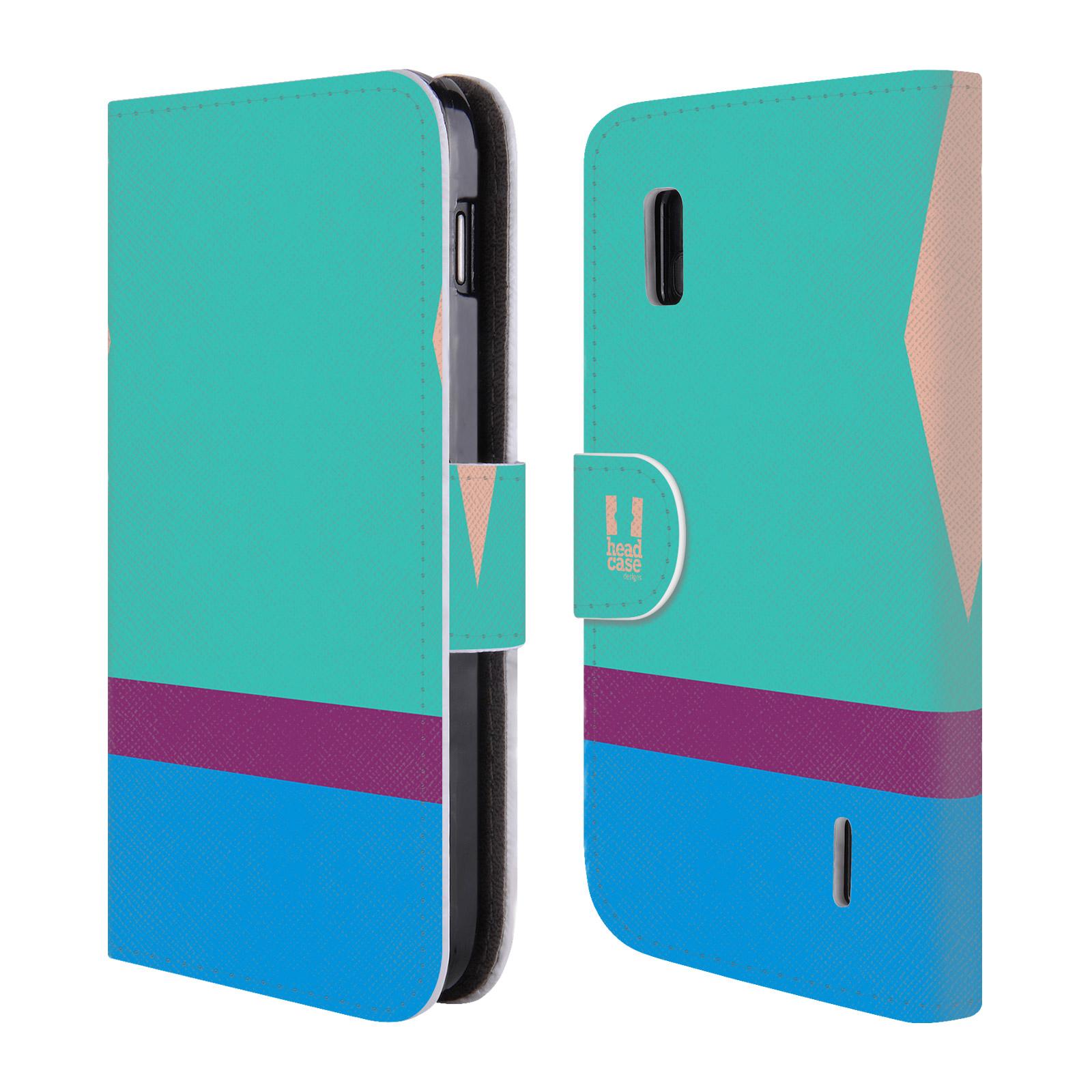 HEAD CASE Flipové pouzdro pro mobil LG NEXUS 4 barevné tvary modrá a fialový pruh