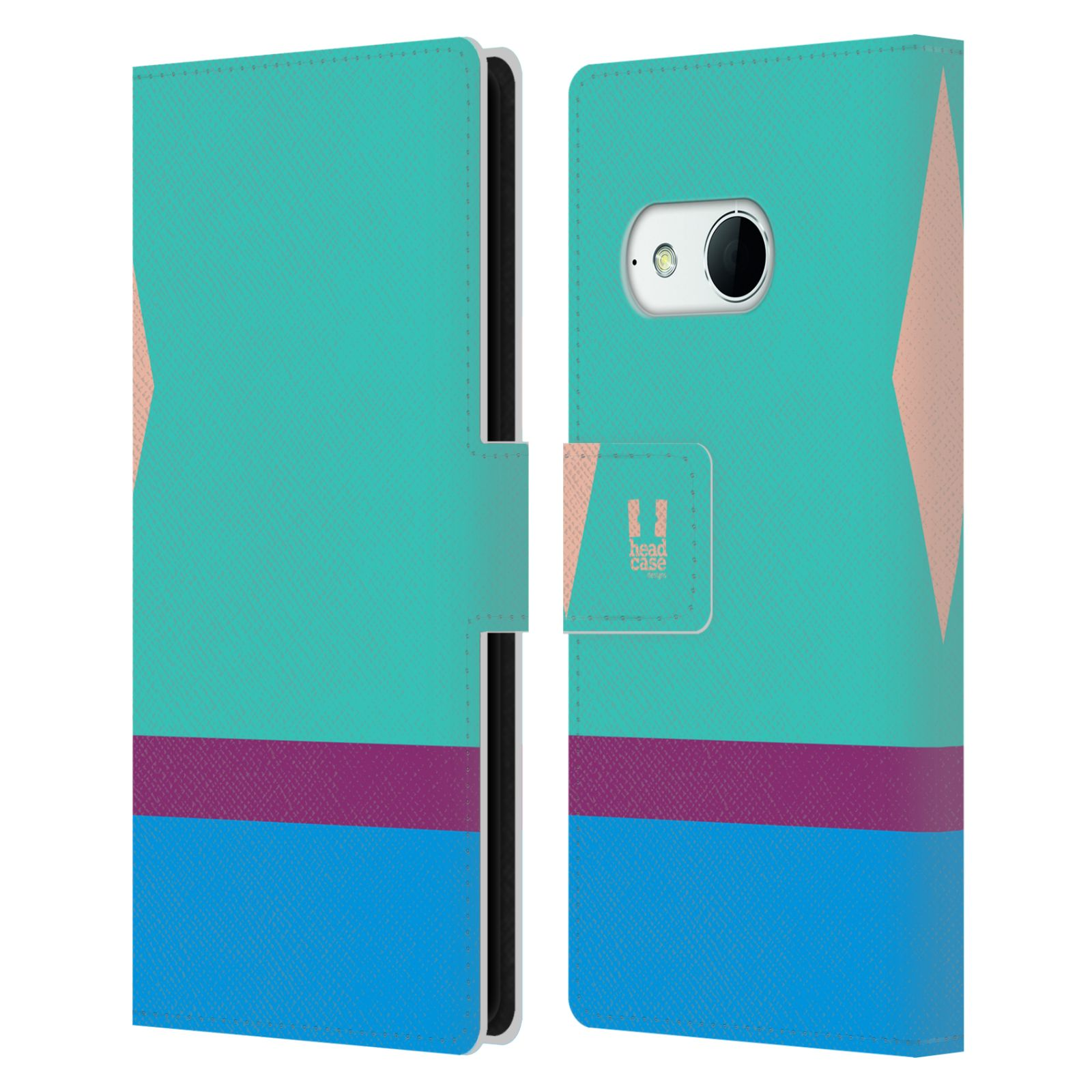 HEAD CASE Flipové pouzdro pro mobil HTC ONE MINI 2 barevné tvary modrá a fialový pruh