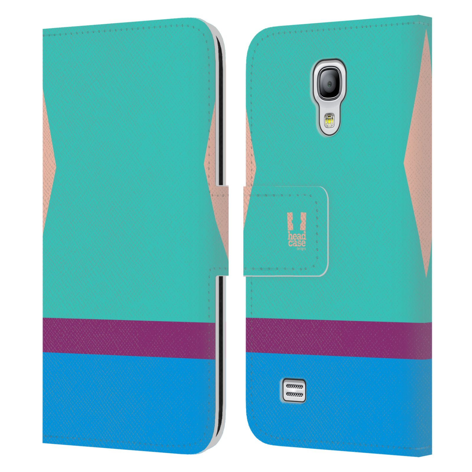 HEAD CASE Flipové pouzdro pro mobil Samsung Galaxy S4 MINI barevné tvary modrá a fialový pruh