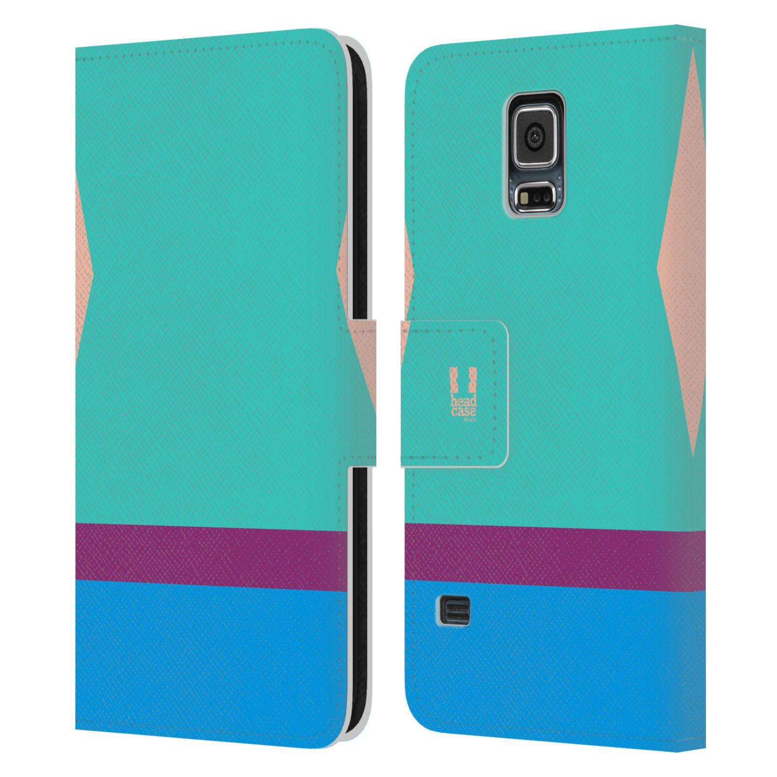 HEAD CASE Flipové pouzdro pro mobil Samsung Galaxy S5 barevné tvary modrá a fialový pruh