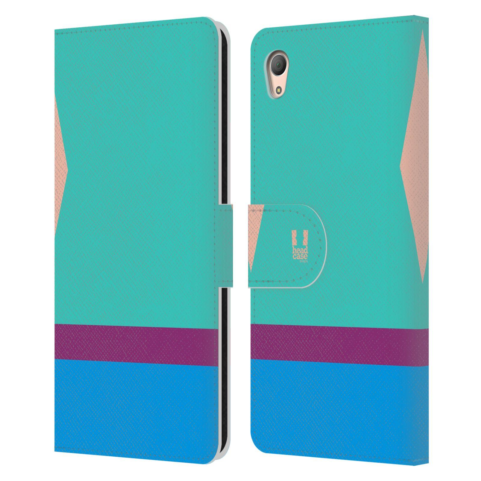 HEAD CASE Flipové pouzdro pro mobil SONY XPERIA Z3+(Z3 PLUS) barevné tvary modrá a fialový pruh
