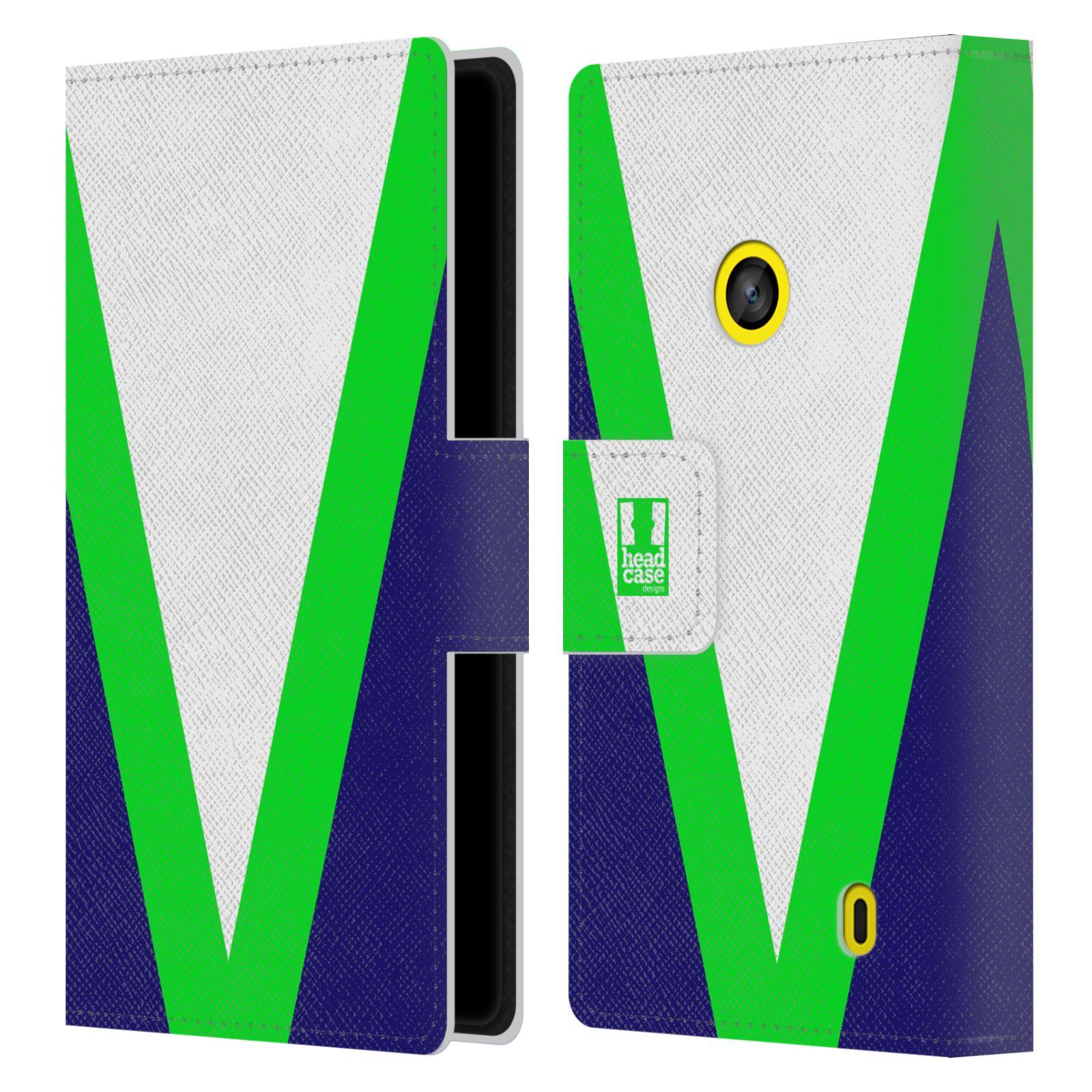 HEAD CASE Flipové pouzdro pro mobil Nokia LUMIA 520/525 barevné tvary zelená a modrá