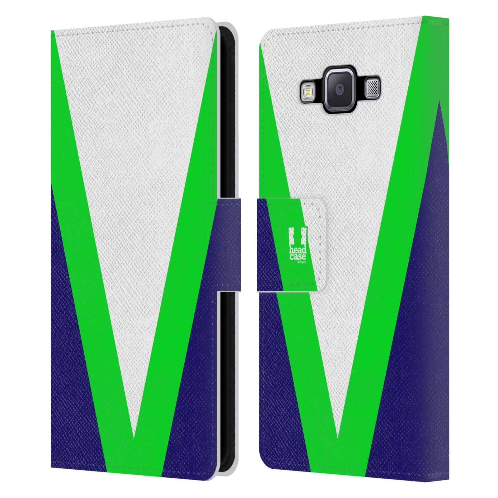 HEAD CASE Flipové pouzdro pro mobil Samsung Galaxy A5 barevné tvary zelená a modrá