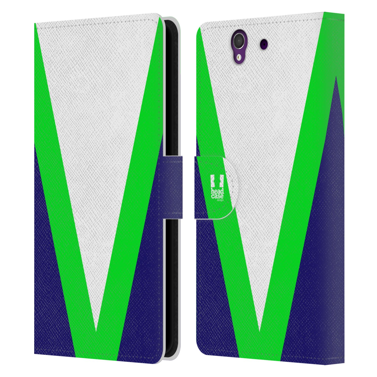 HEAD CASE Flipové pouzdro pro mobil SONY Xperia Z barevné tvary zelená a modrá